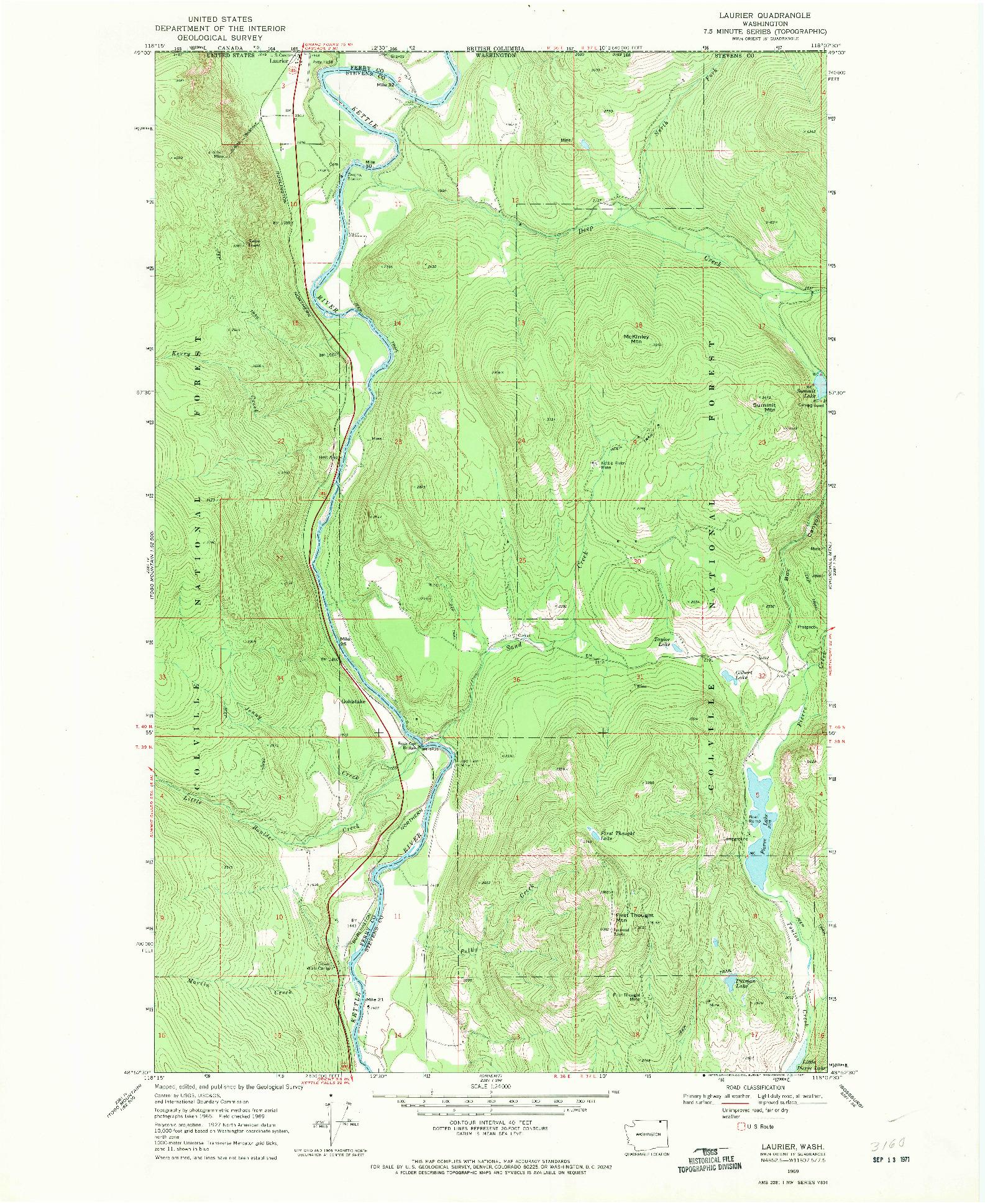 USGS 1:24000-SCALE QUADRANGLE FOR LAURIER, WA 1969