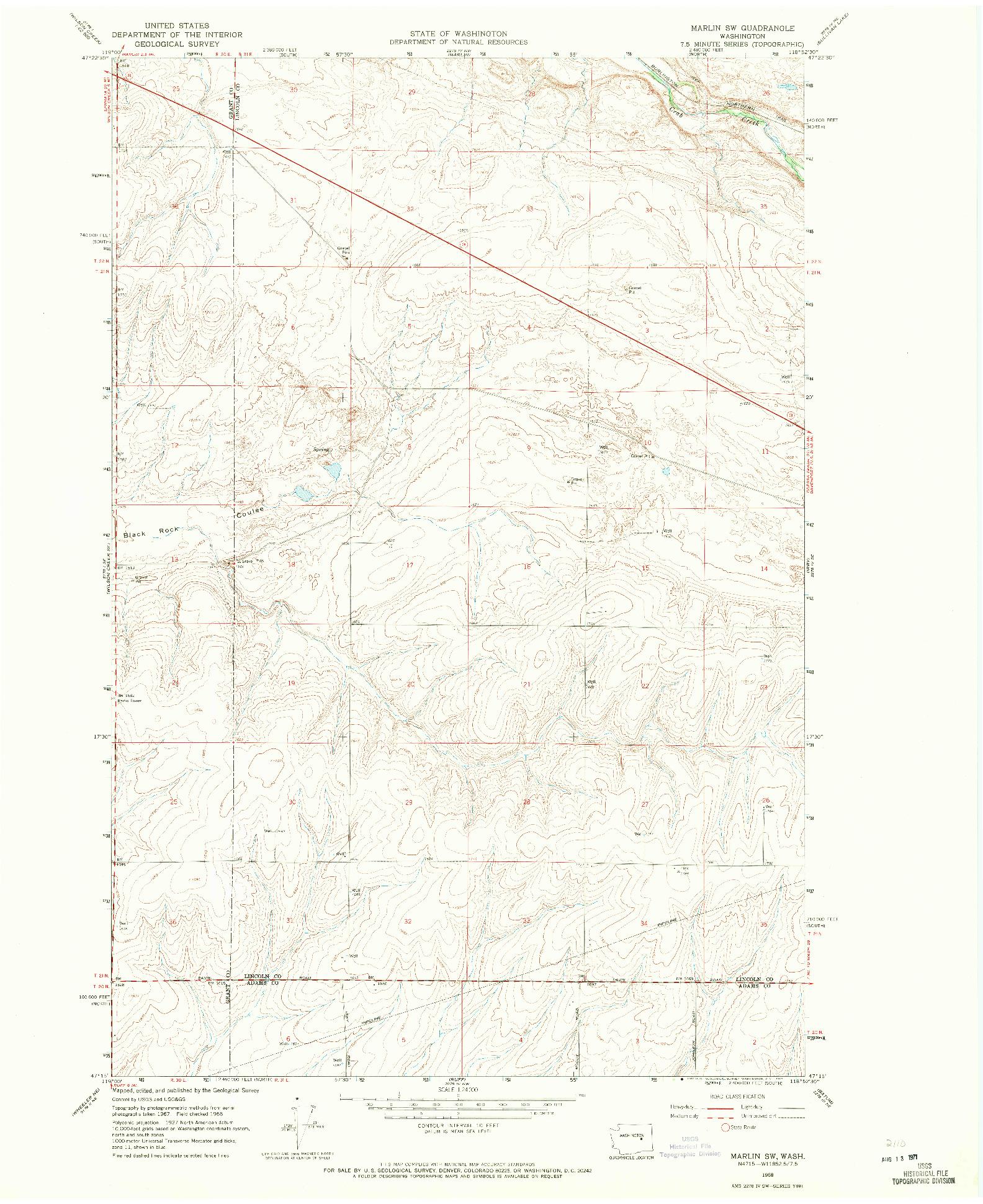USGS 1:24000-SCALE QUADRANGLE FOR MARLIN SW, WA 1968