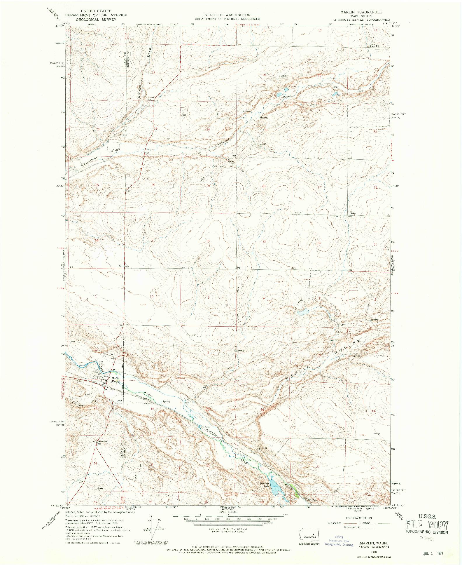 USGS 1:24000-SCALE QUADRANGLE FOR MARLIN, WA 1968