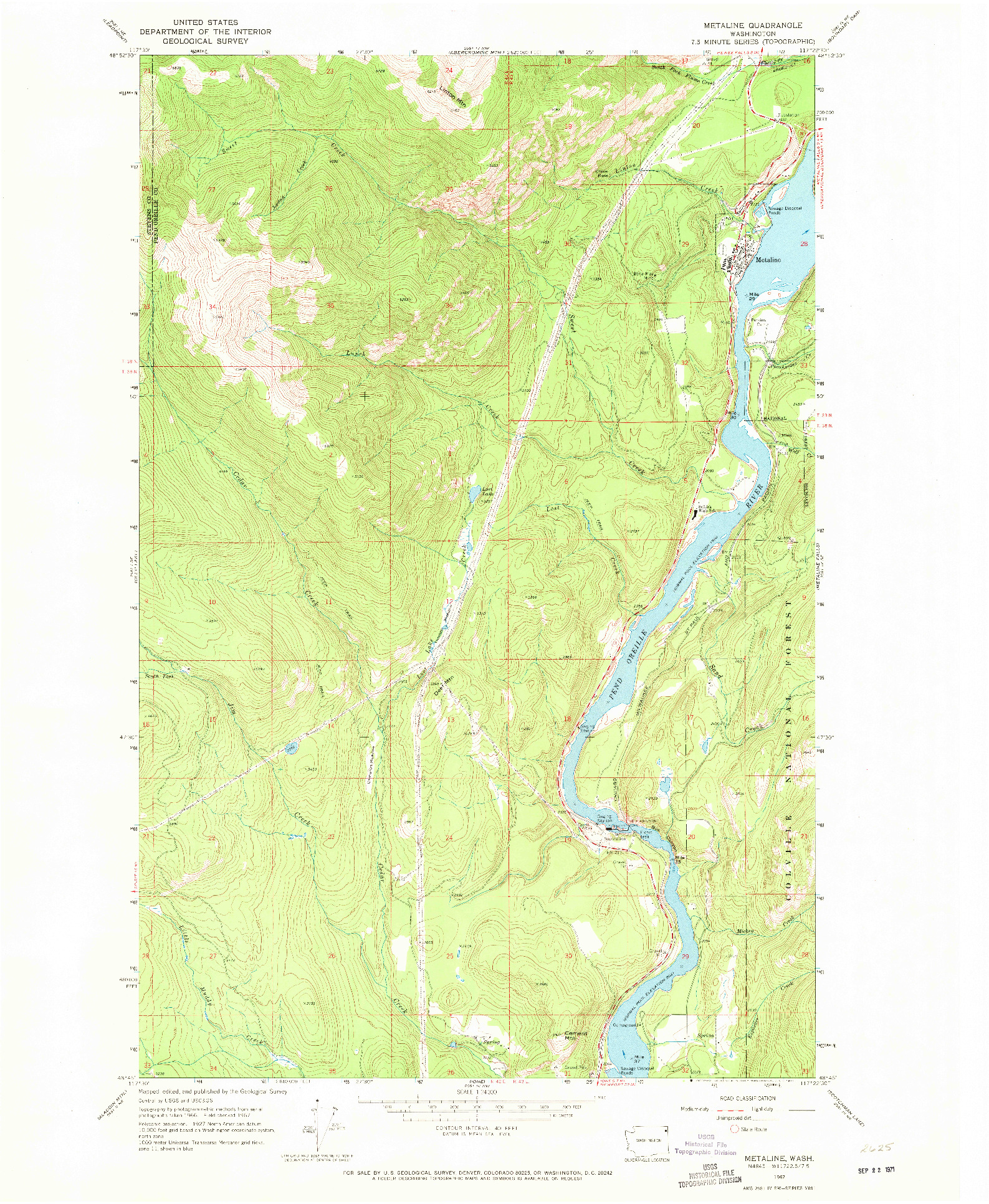 USGS 1:24000-SCALE QUADRANGLE FOR METALINE, WA 1967