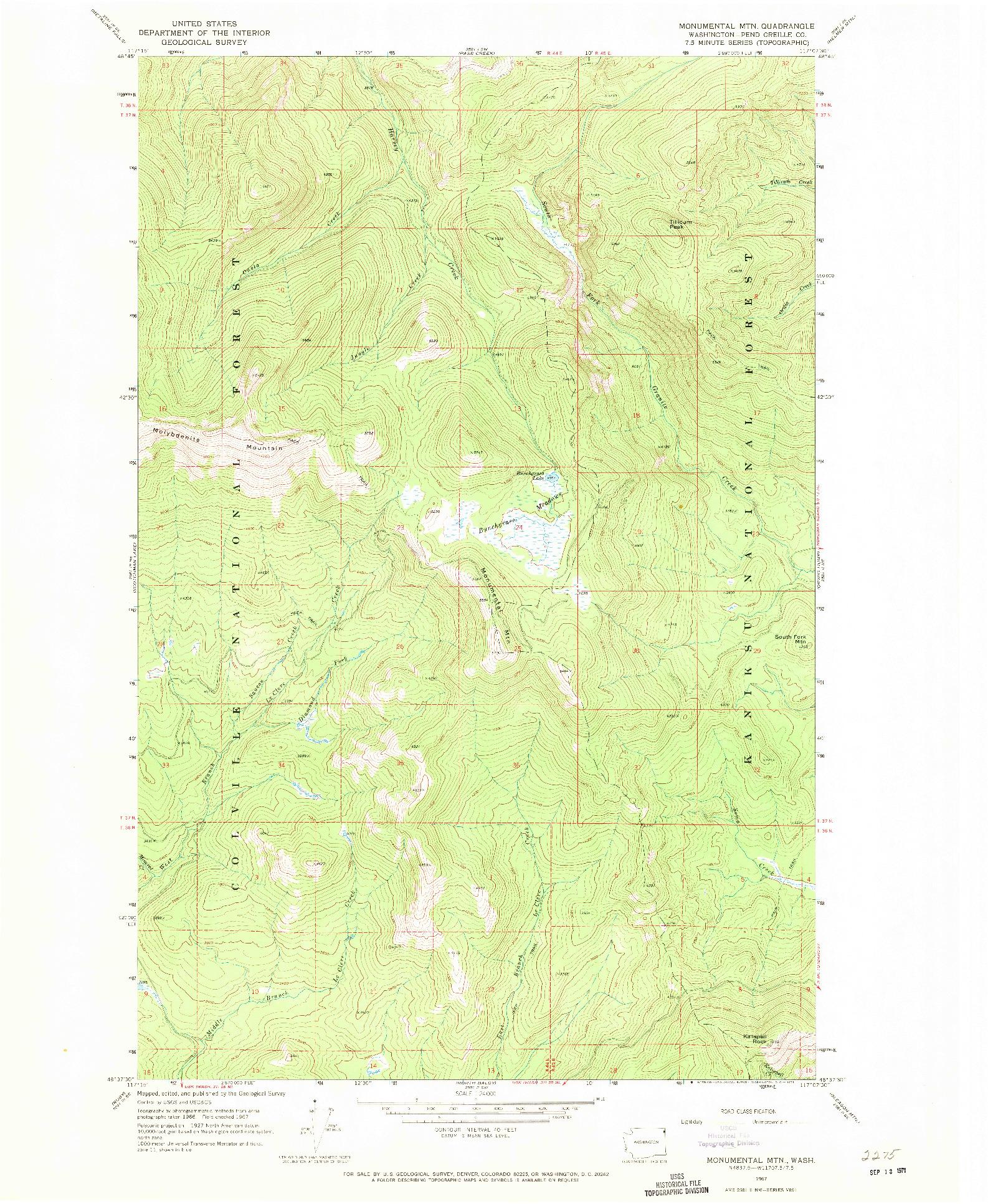 USGS 1:24000-SCALE QUADRANGLE FOR MONUMENTAL MTN., WA 1967