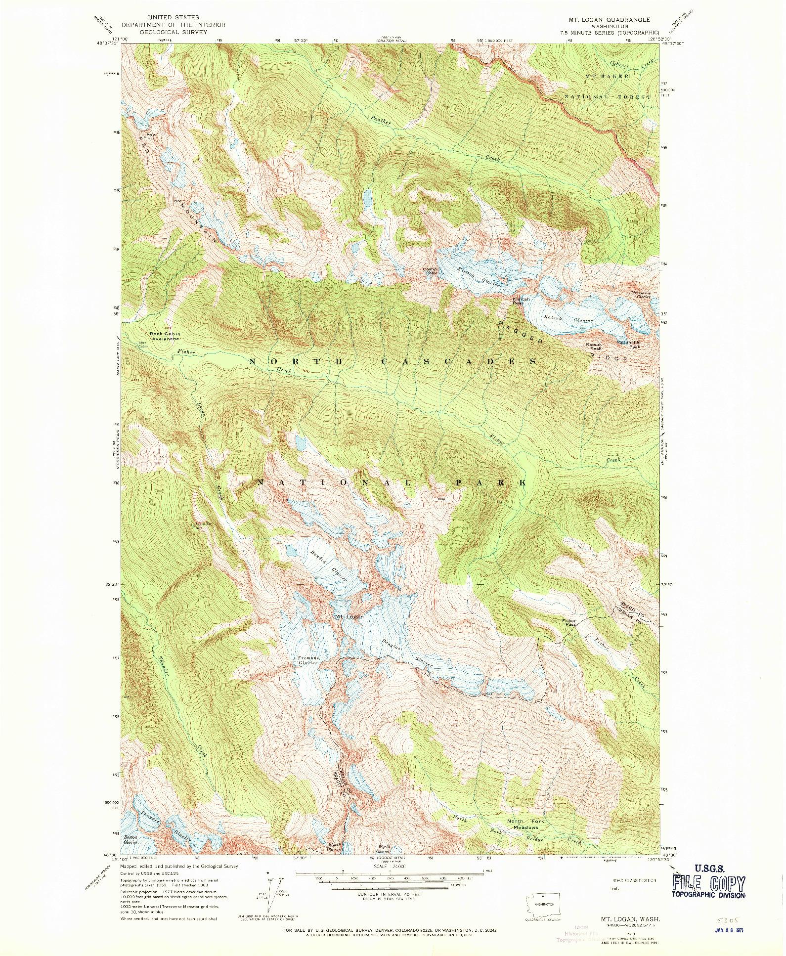 USGS 1:24000-SCALE QUADRANGLE FOR MT LOGAN, WA 1963