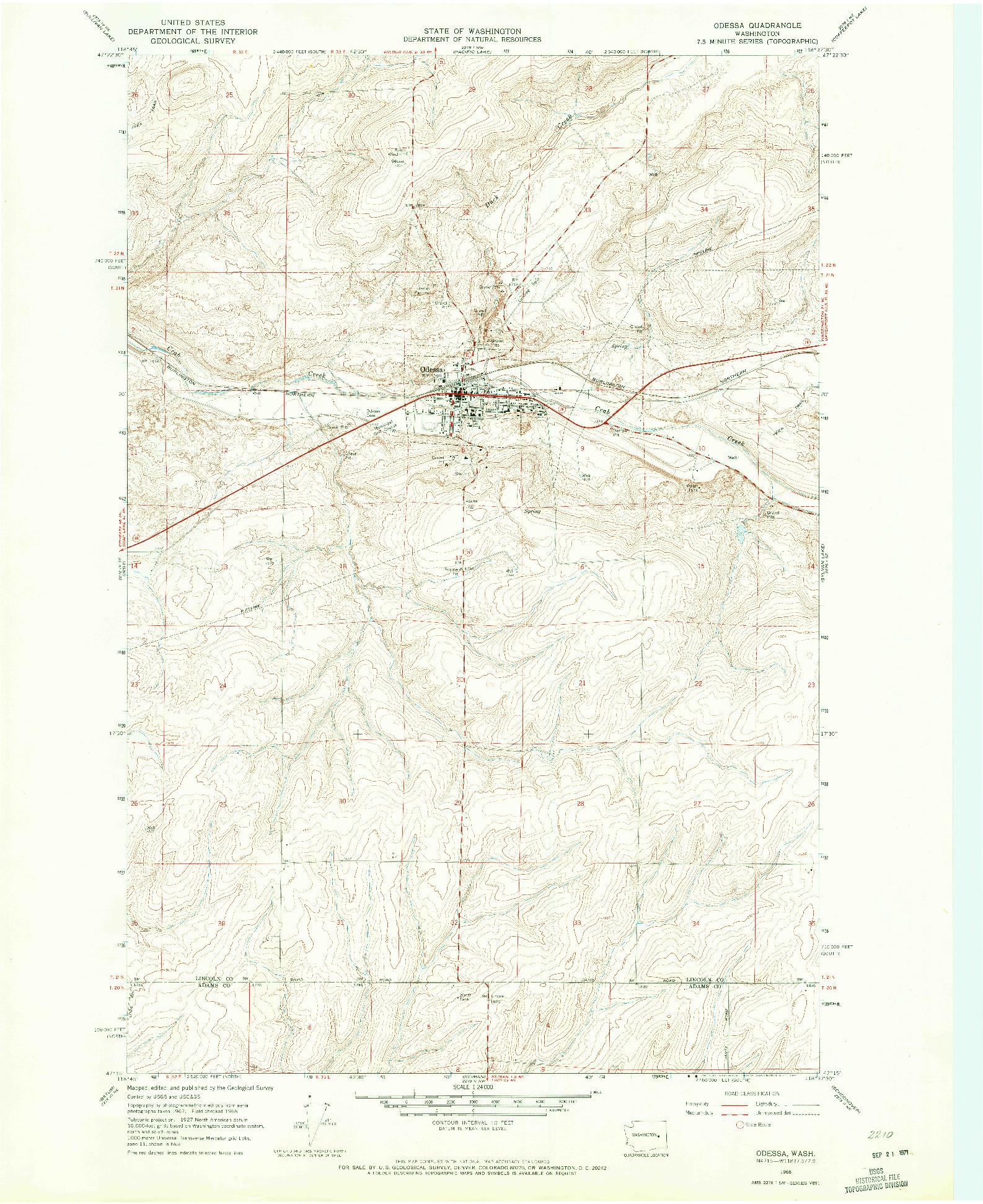 USGS 1:24000-SCALE QUADRANGLE FOR ODESSA, WA 1968