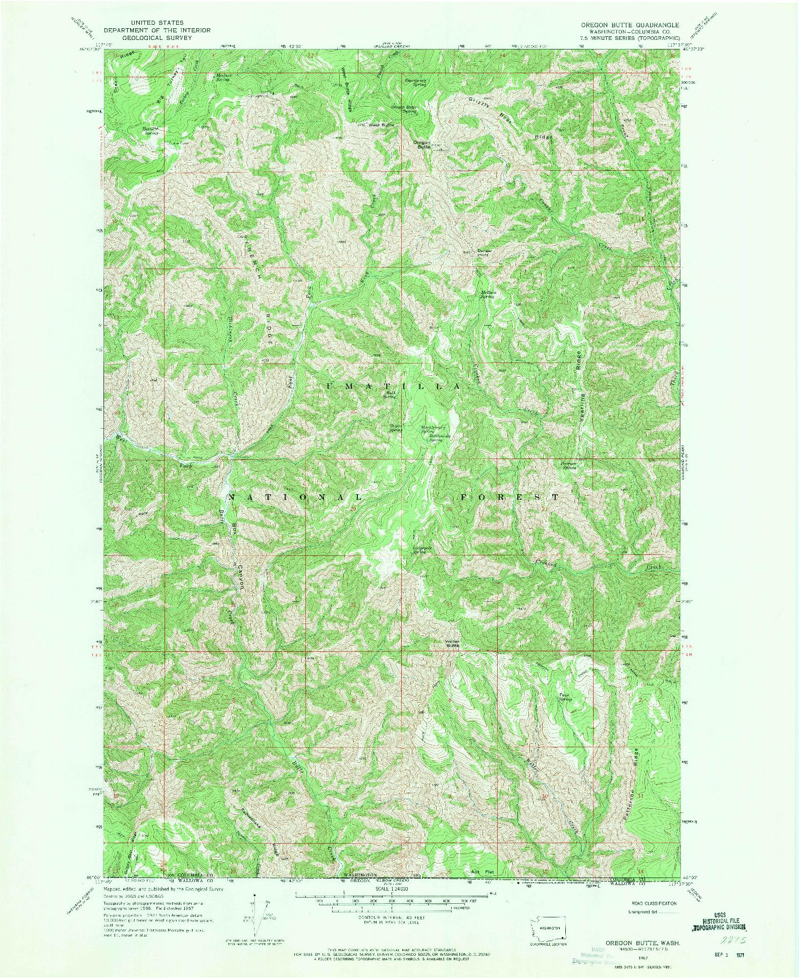 USGS 1:24000-SCALE QUADRANGLE FOR OREGON BUTTE, WA 1967