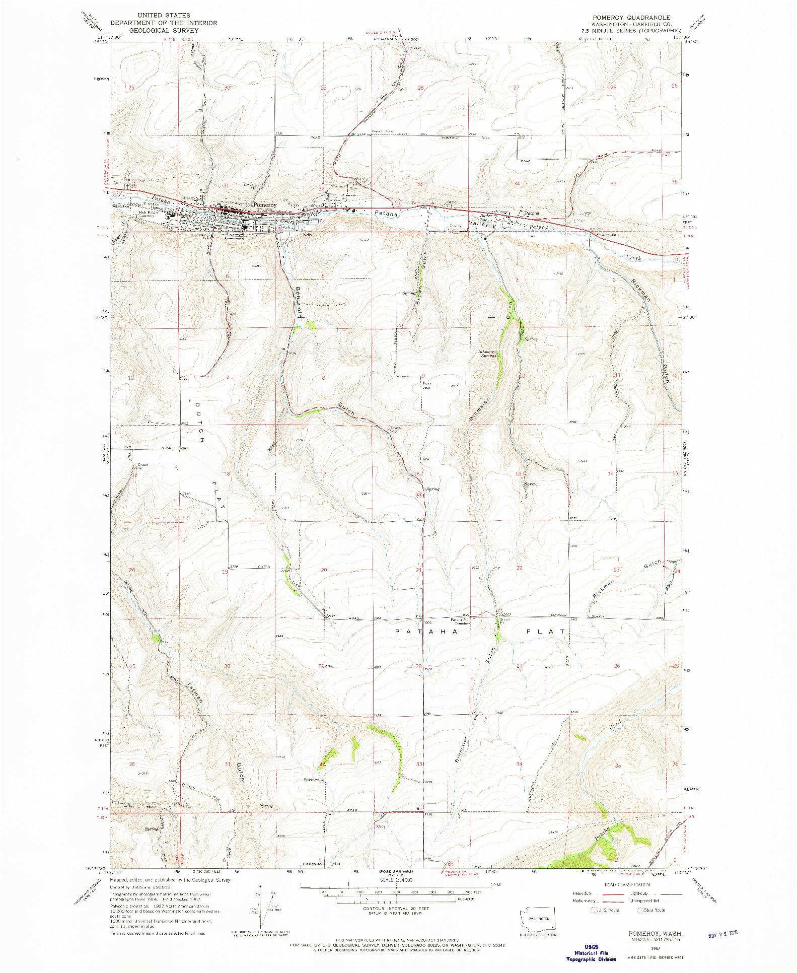 USGS 1:24000-SCALE QUADRANGLE FOR POMEROY, WA 1967