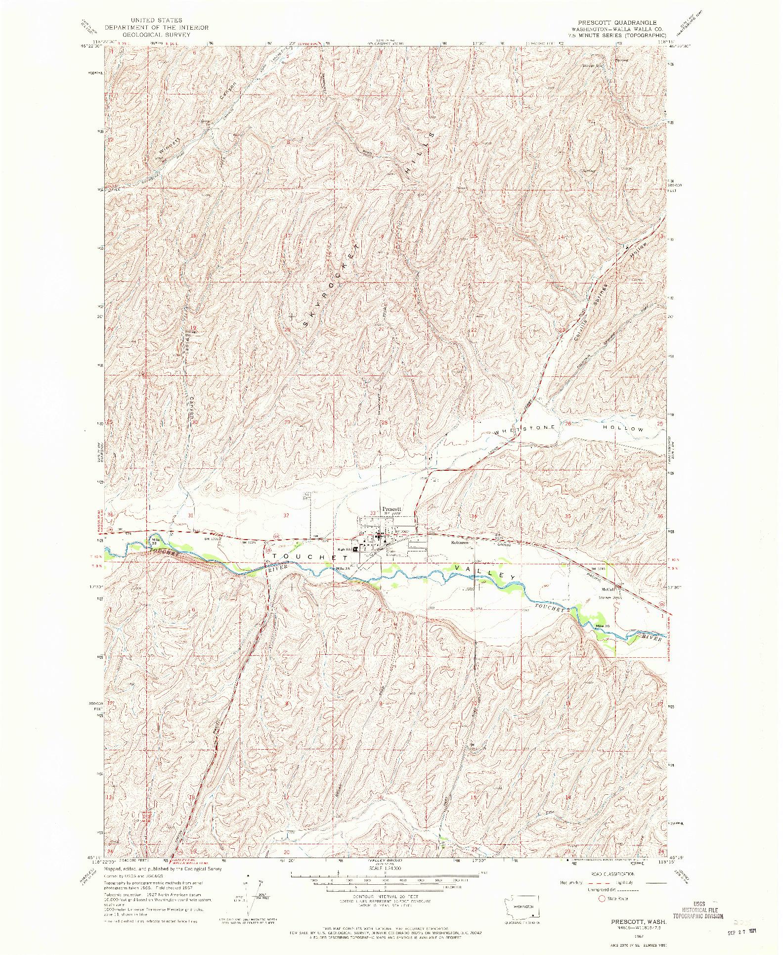 USGS 1:24000-SCALE QUADRANGLE FOR PRESCOTT, WA 1967