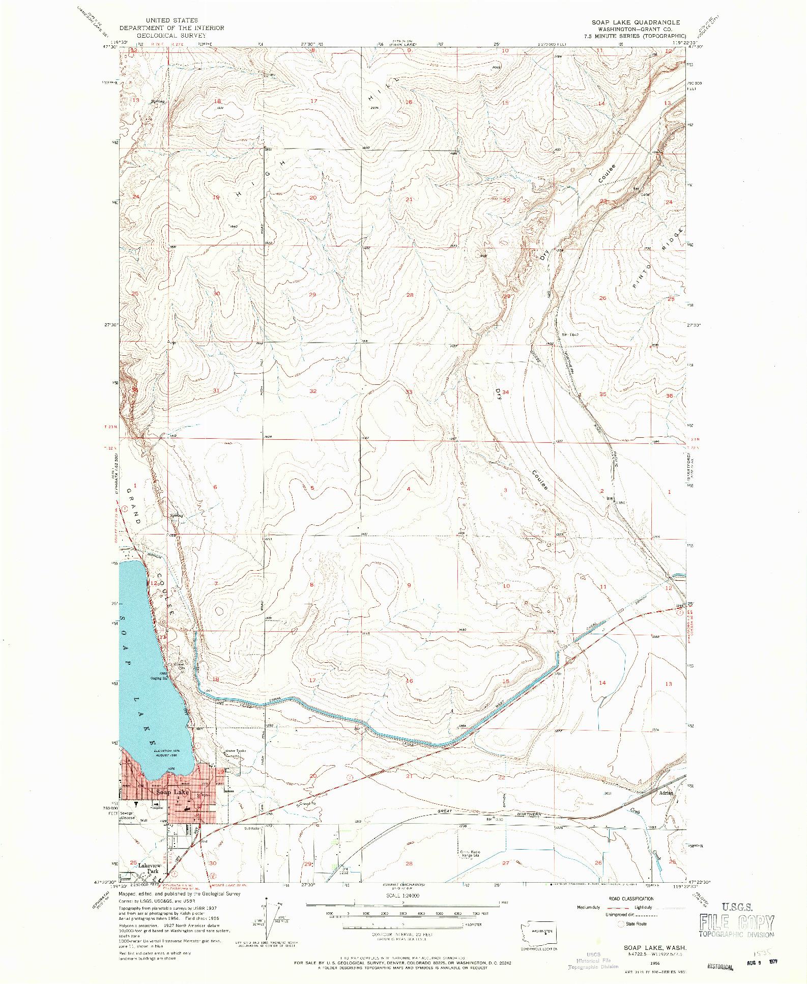 USGS 1:24000-SCALE QUADRANGLE FOR SOAP LAKE, WA 1956