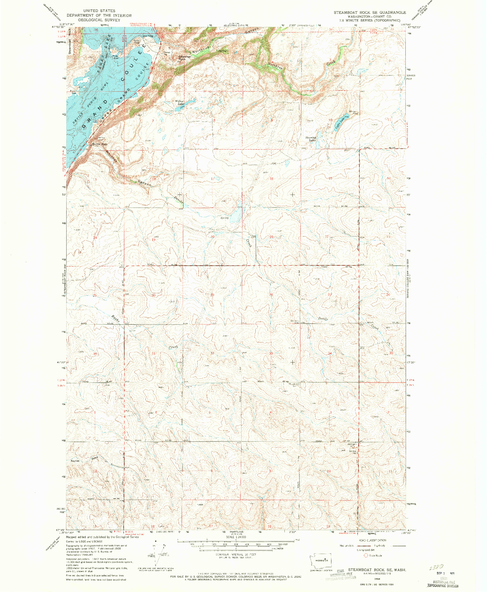 USGS 1:24000-SCALE QUADRANGLE FOR STEAMBOAT ROCK SE, WA 1968