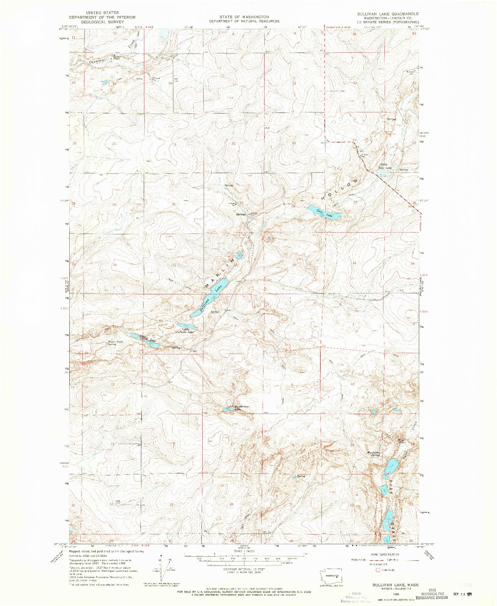 USGS 1:24000-SCALE QUADRANGLE FOR SULLIVAN LAKE, WA 1968
