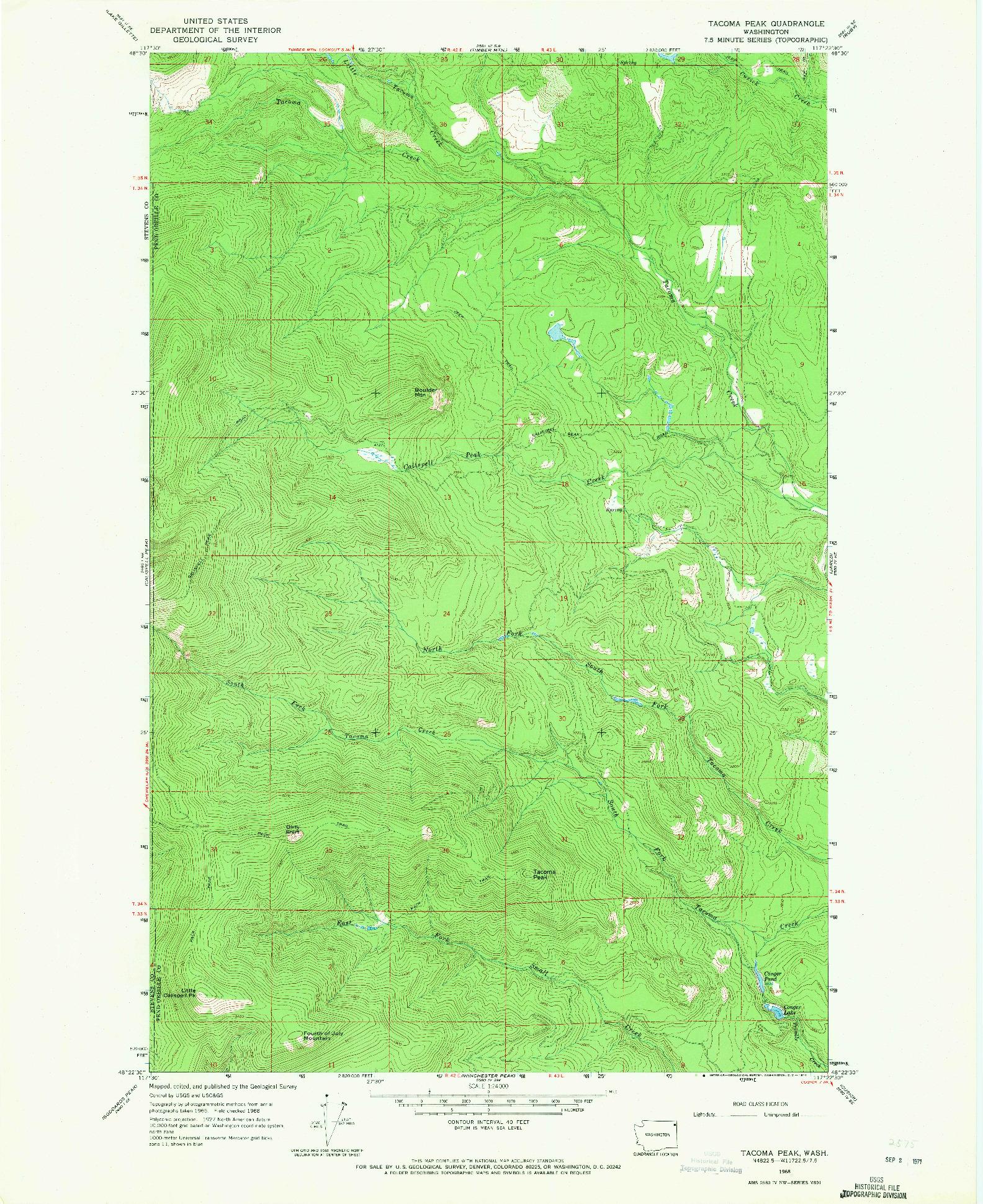 USGS 1:24000-SCALE QUADRANGLE FOR TACOMA PEAK, WA 1968