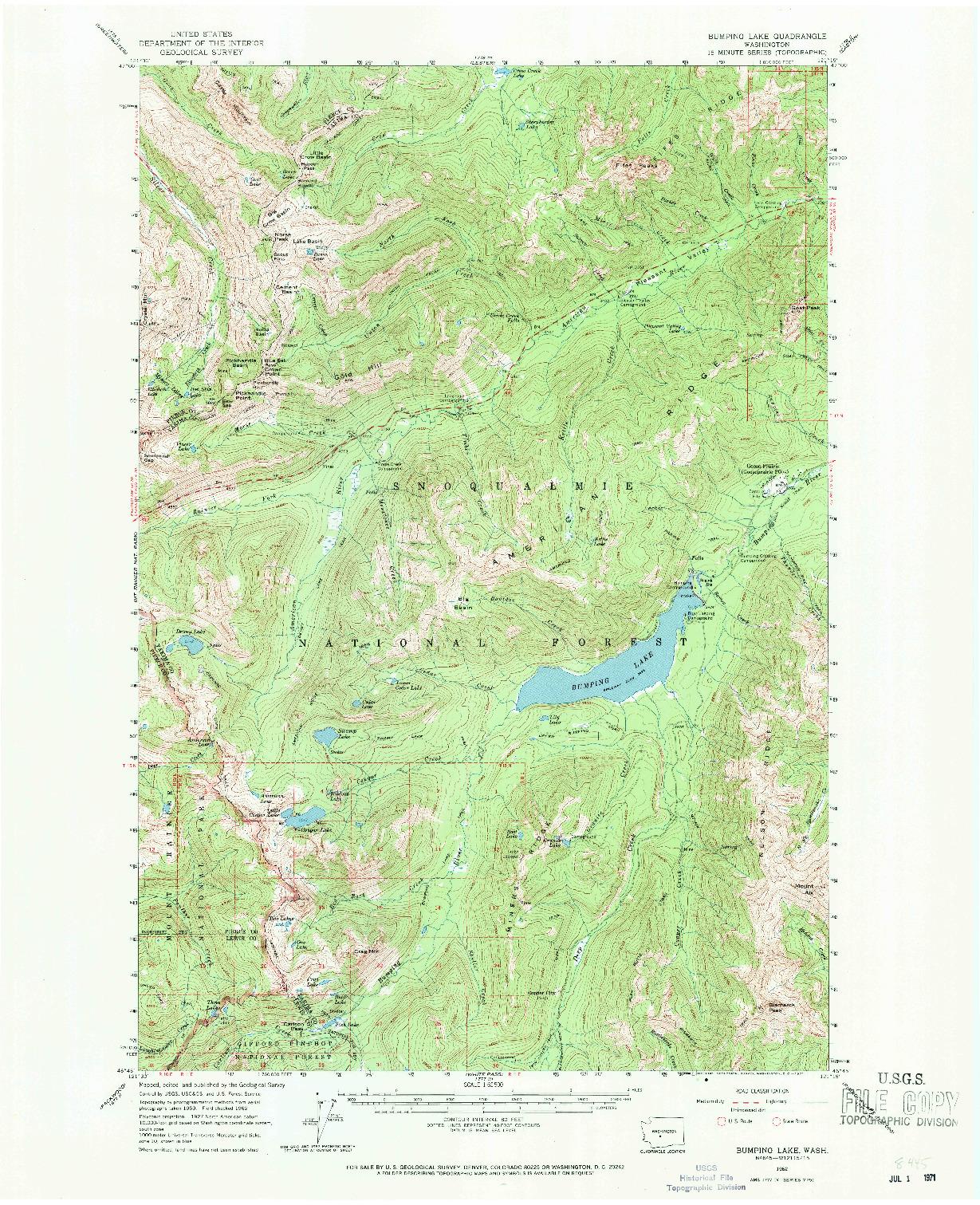 USGS 1:62500-SCALE QUADRANGLE FOR BUMPING LAKE, WA 1962
