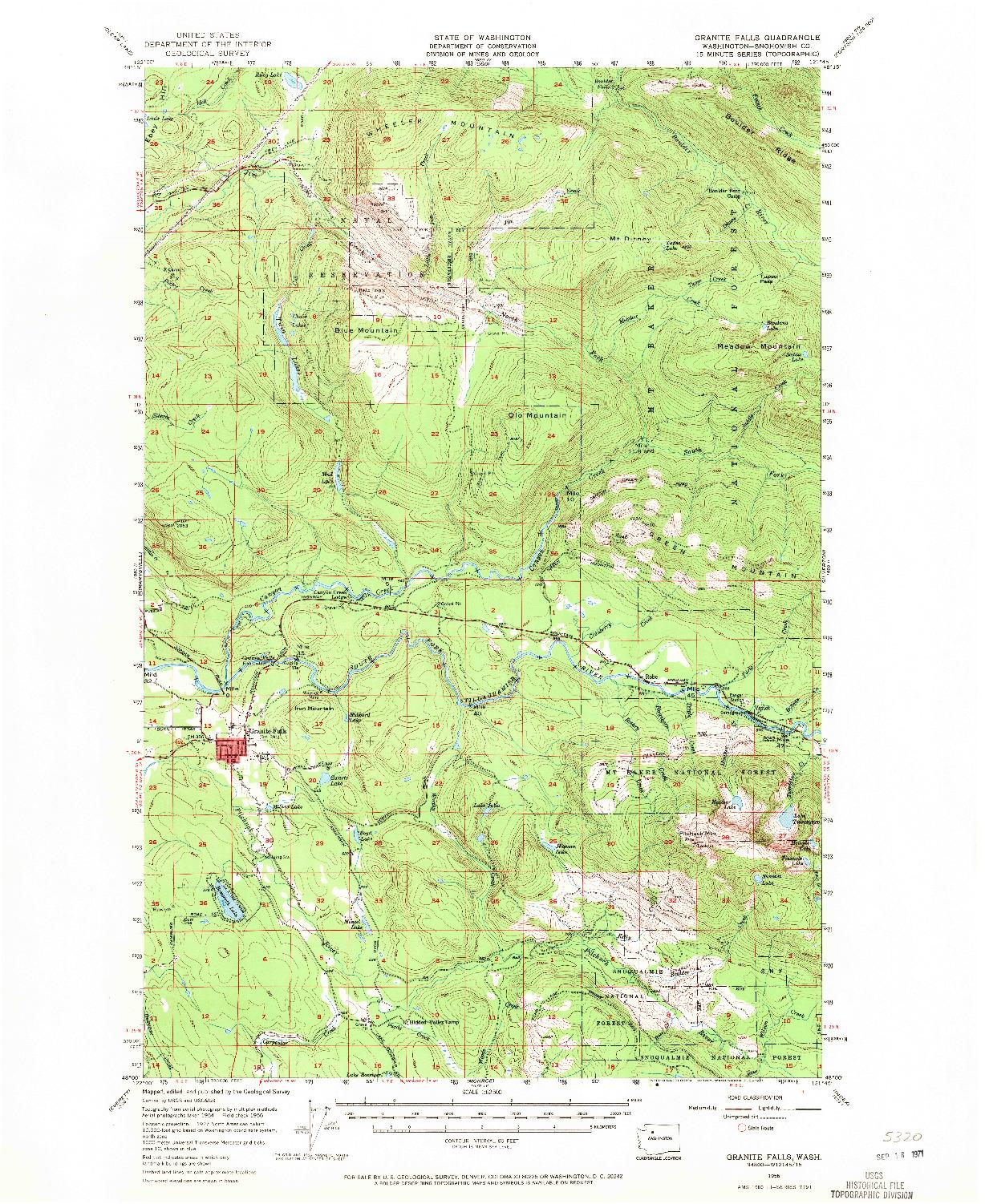 USGS 1:62500-SCALE QUADRANGLE FOR GRANITE FALLS, WA 1956
