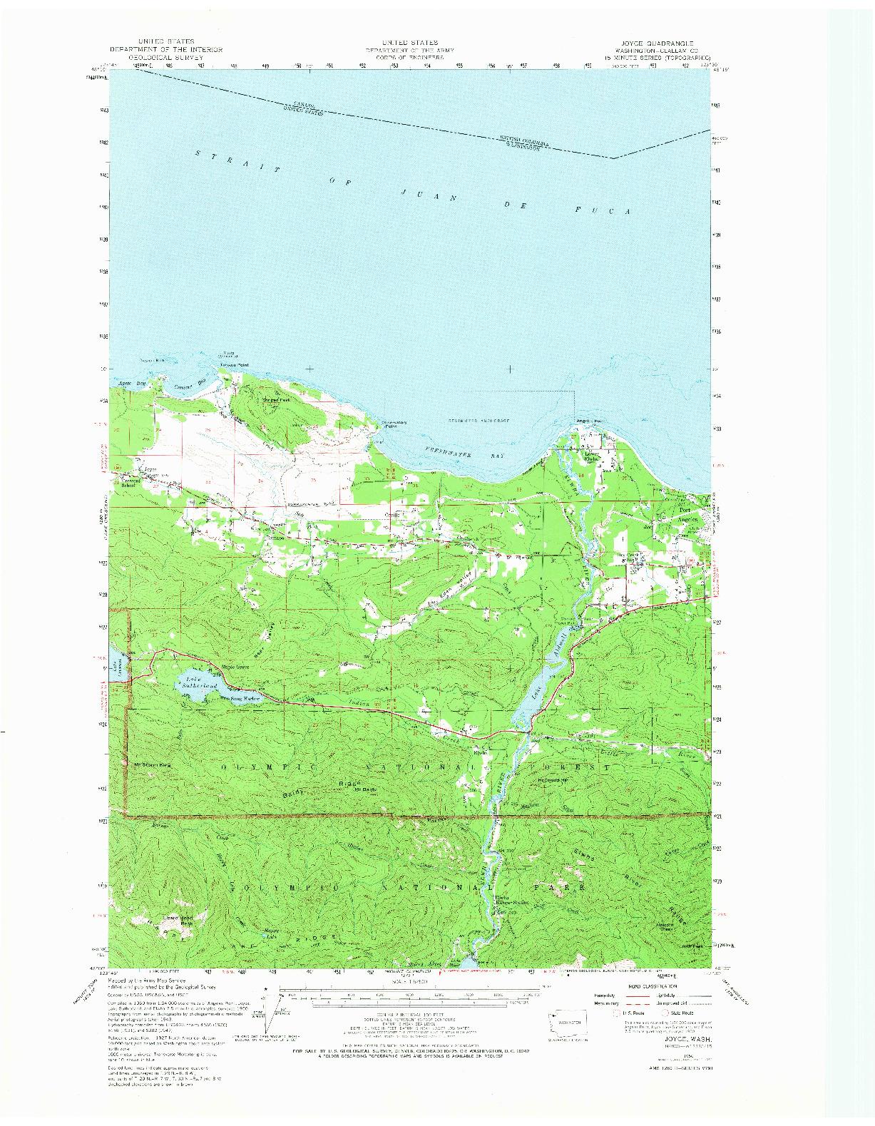 USGS 1:62500-SCALE QUADRANGLE FOR JOYCE, WA 1950