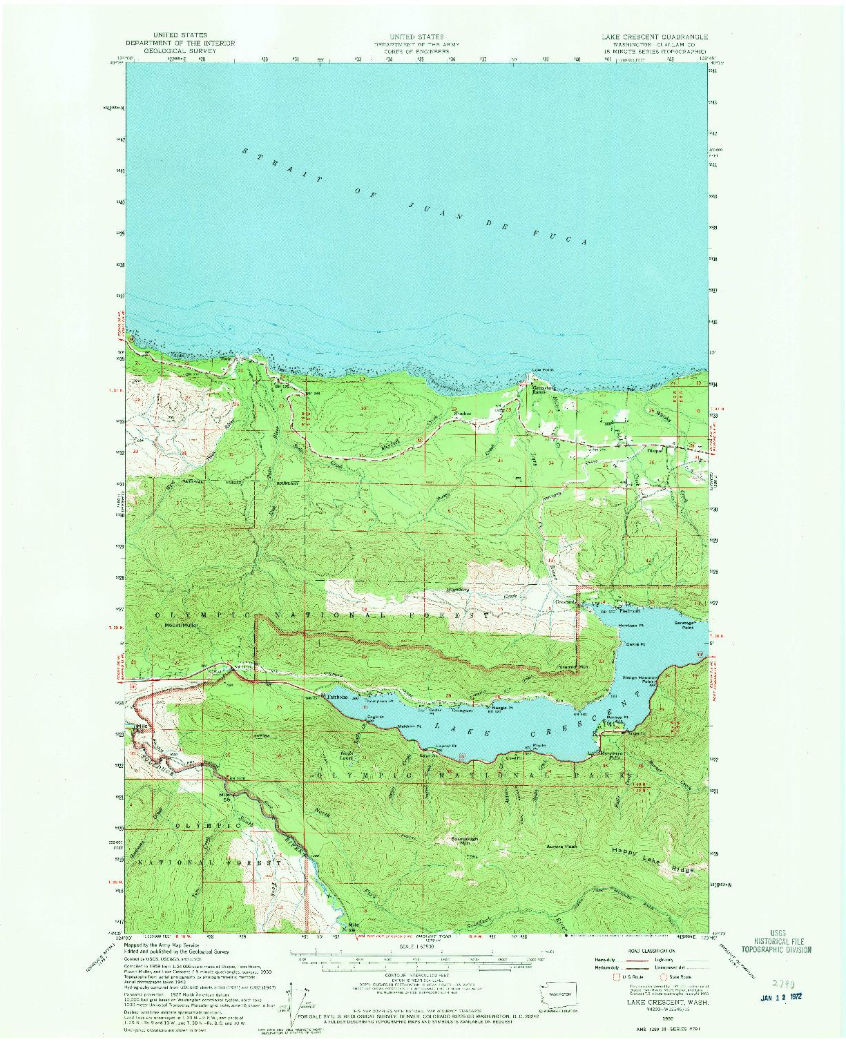 USGS 1:62500-SCALE QUADRANGLE FOR LAKE CRESCENT, WA 1950