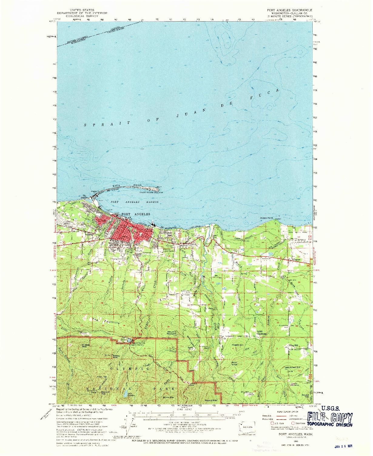 USGS 1:62500-SCALE QUADRANGLE FOR PORT ANGELES, WA 1961