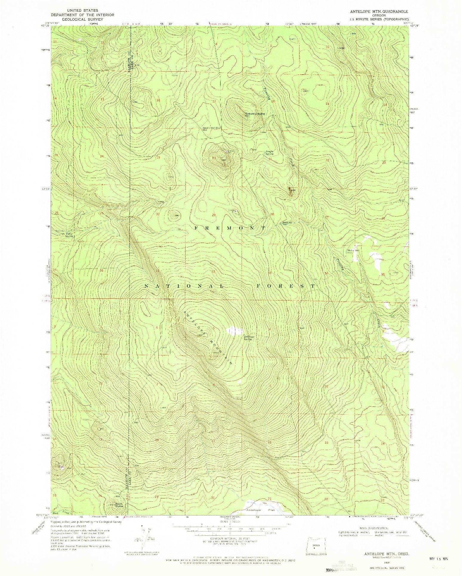 USGS 1:24000-SCALE QUADRANGLE FOR ANTELOPE MTN, OR 1968