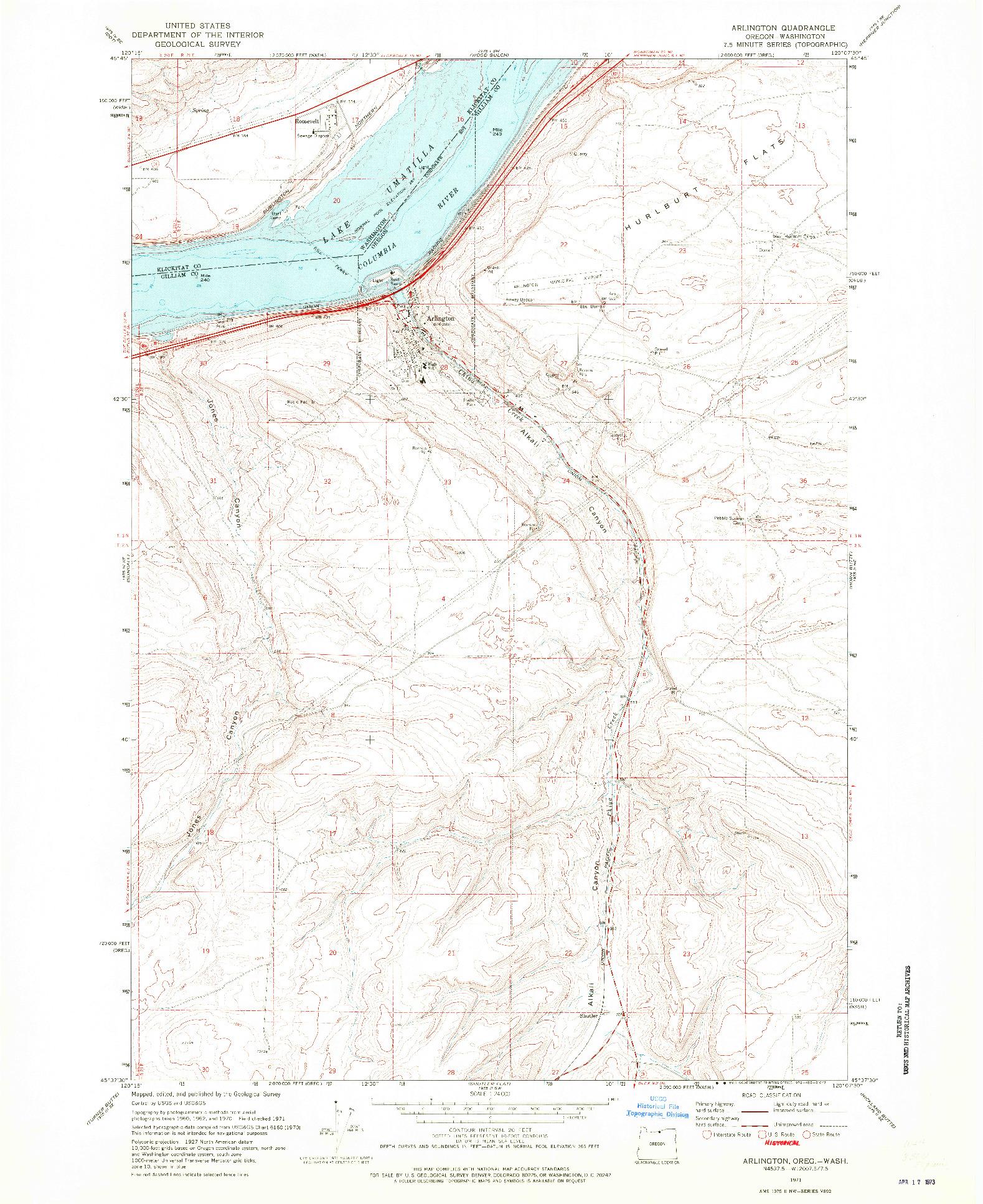 USGS 1:24000-SCALE QUADRANGLE FOR ARLINGTON, OR 1971