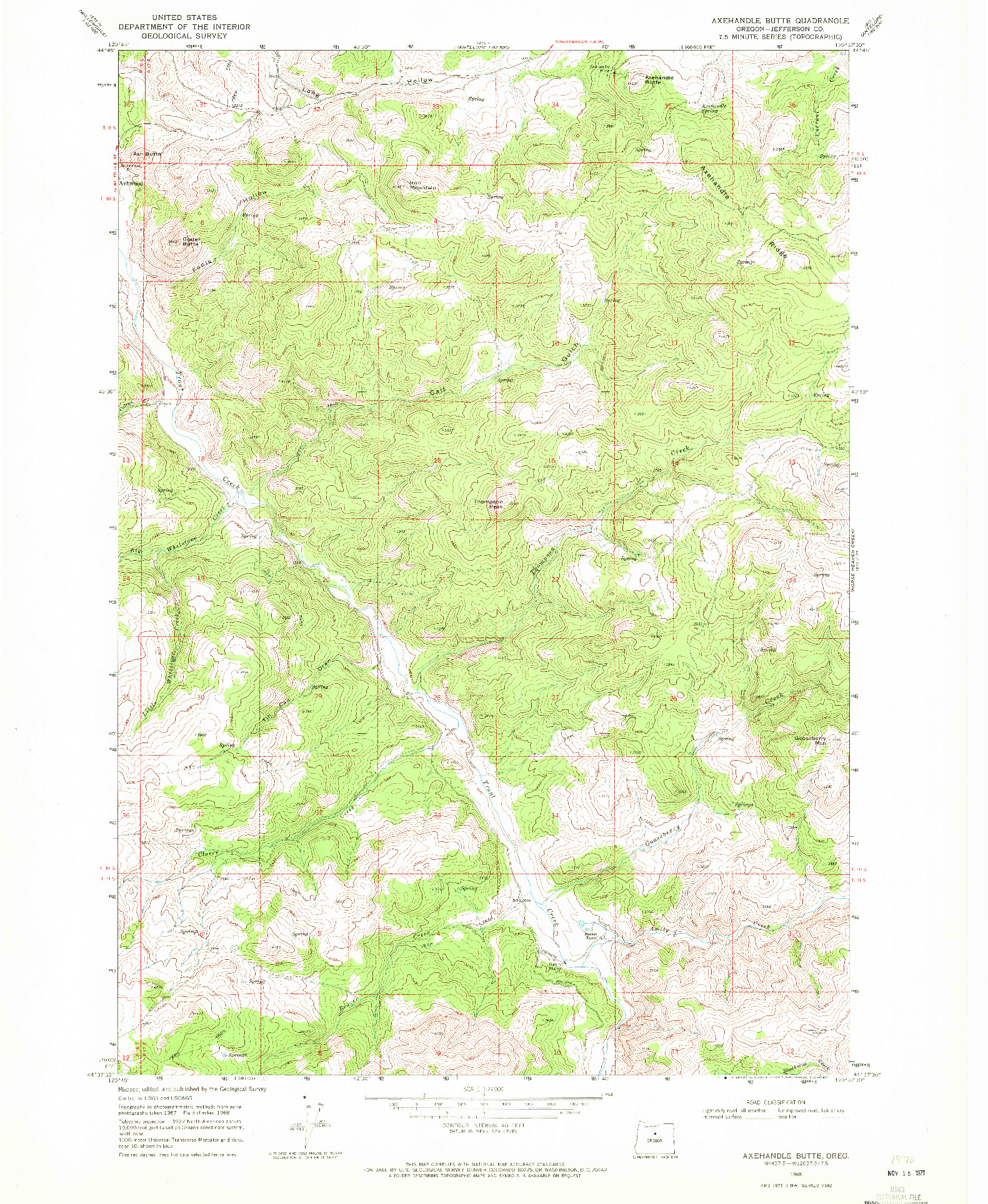 USGS 1:24000-SCALE QUADRANGLE FOR AXEHANDLE BUTTE, OR 1968
