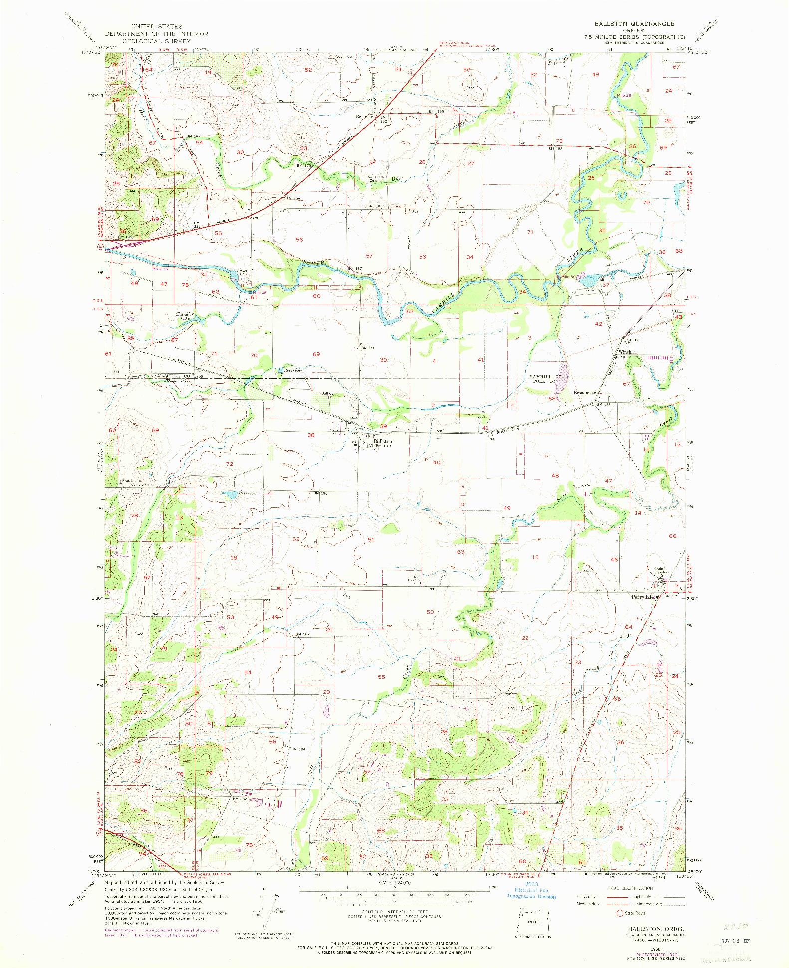 USGS 1:24000-SCALE QUADRANGLE FOR BALLSTON, OR 1956