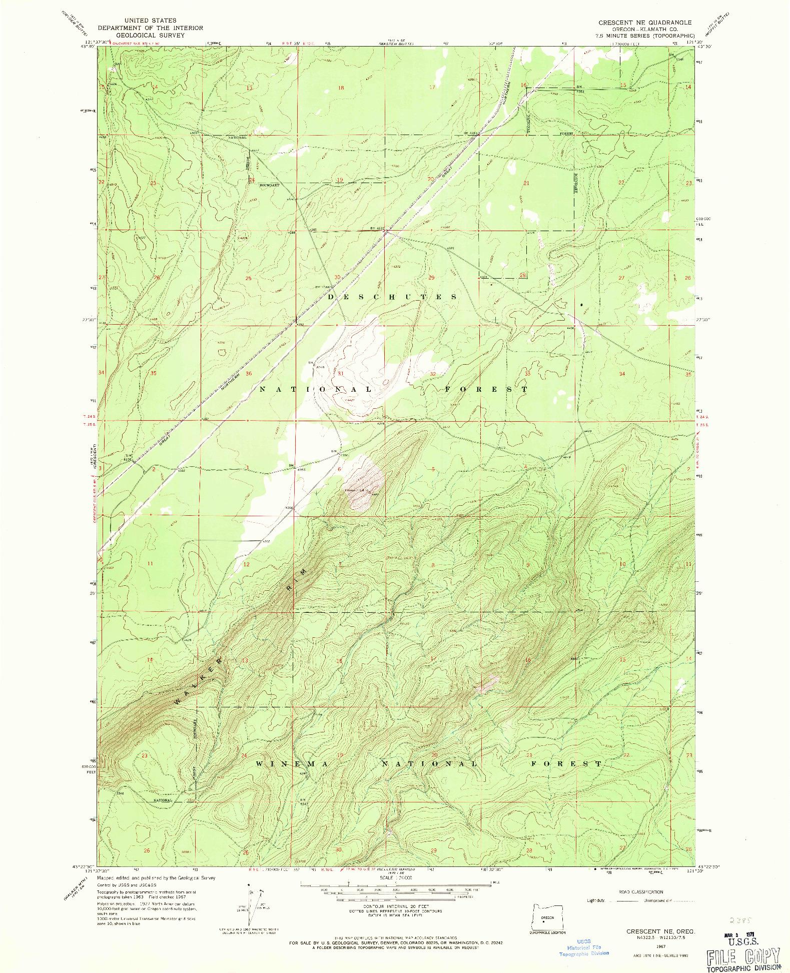 USGS 1:24000-SCALE QUADRANGLE FOR CRESCENT NE, OR 1967