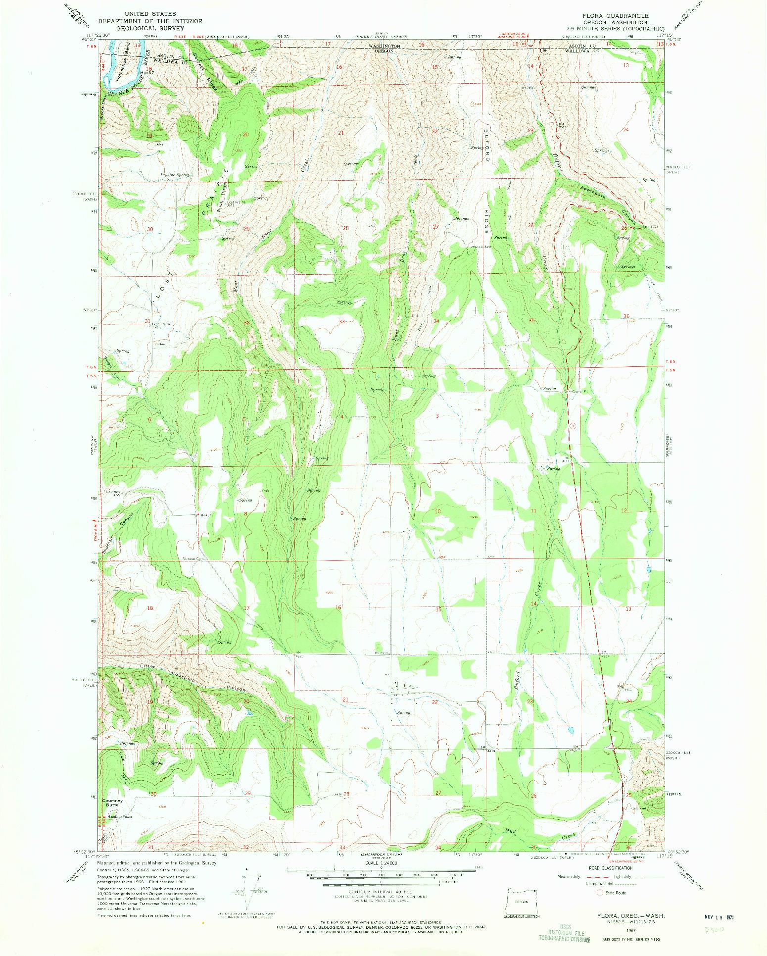 USGS 1:24000-SCALE QUADRANGLE FOR FLORA, OR 1967