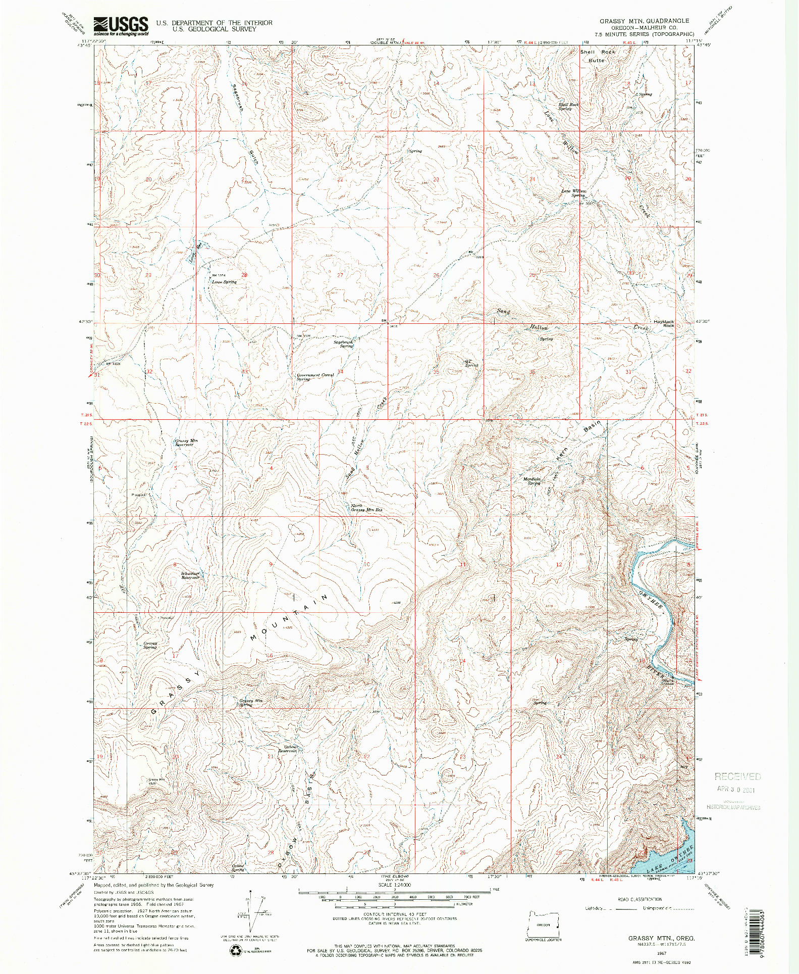 USGS 1:24000-SCALE QUADRANGLE FOR GRASSY MTN, OR 1967