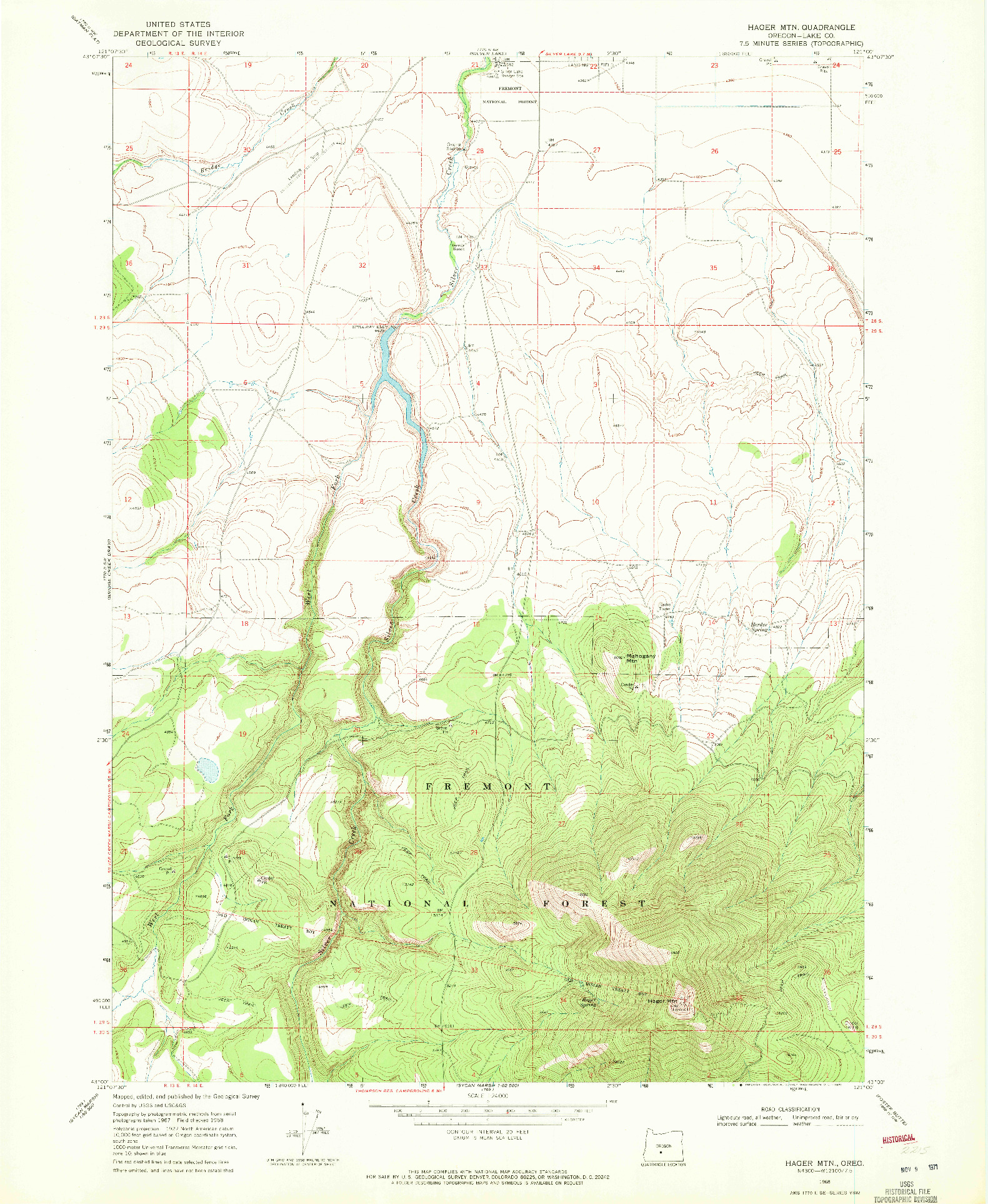 USGS 1:24000-SCALE QUADRANGLE FOR HAGER MTN, OR 1968