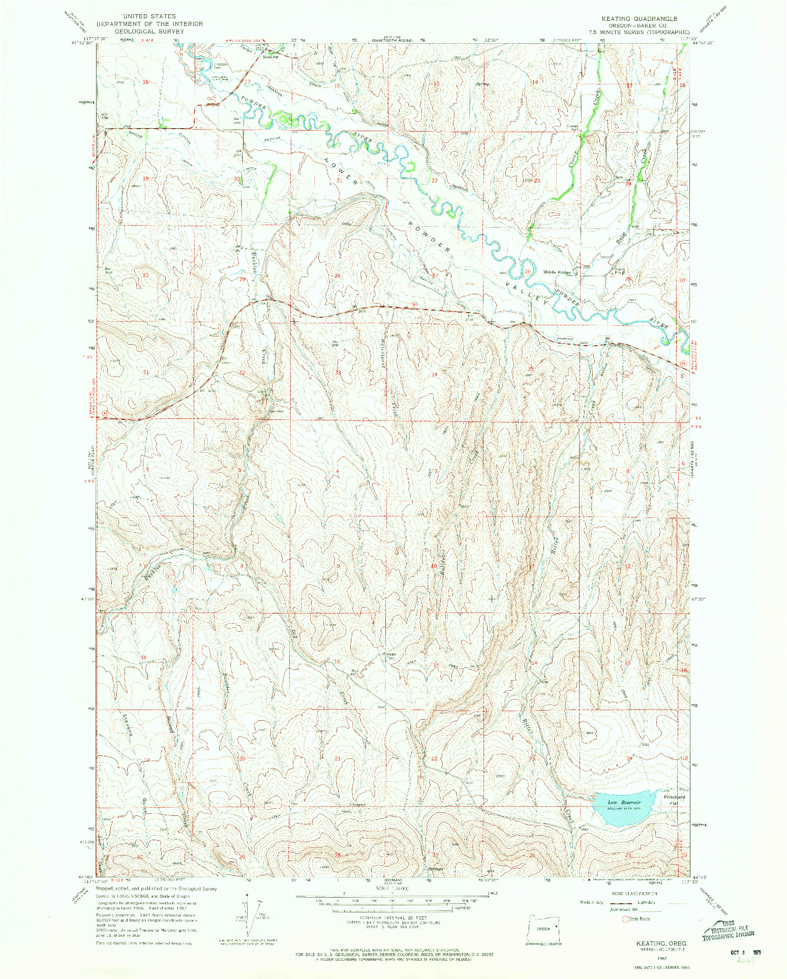 USGS 1:24000-SCALE QUADRANGLE FOR KEATING, OR 1967