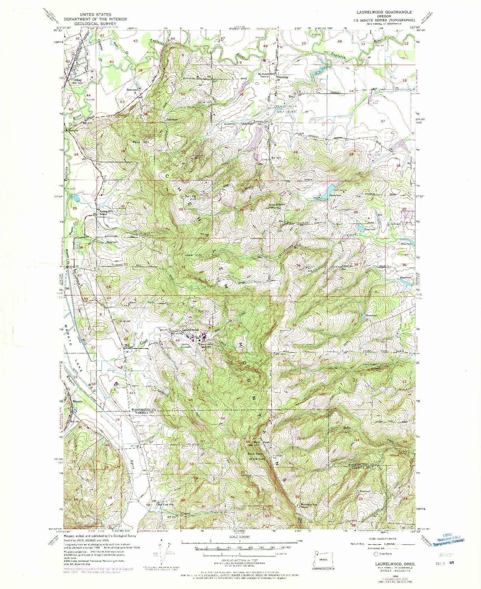 USGS 1:24000-SCALE QUADRANGLE FOR LAURELWOOD, OR 1956