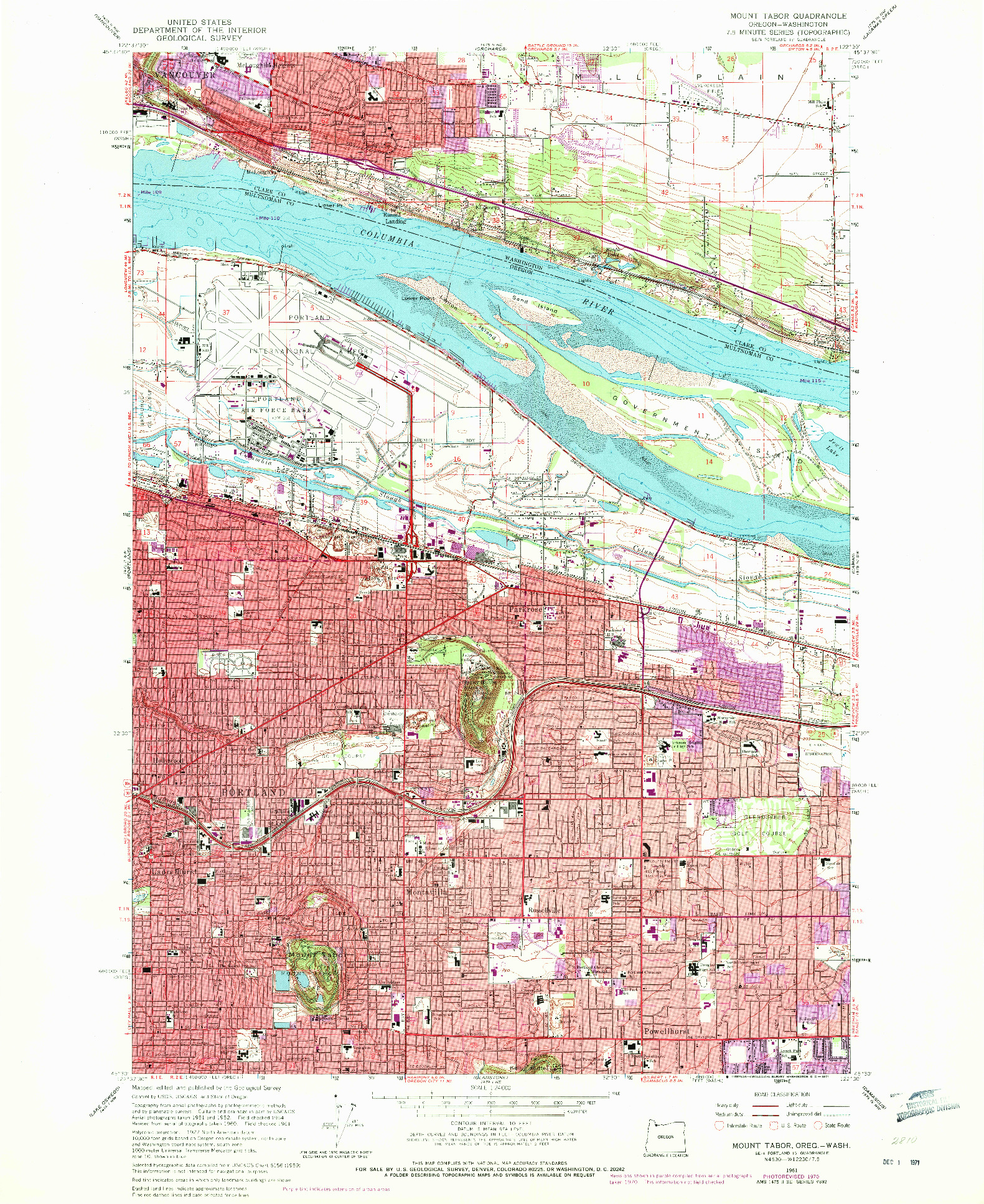 USGS 1:24000-SCALE QUADRANGLE FOR MOUNT TABOR, OR 1961