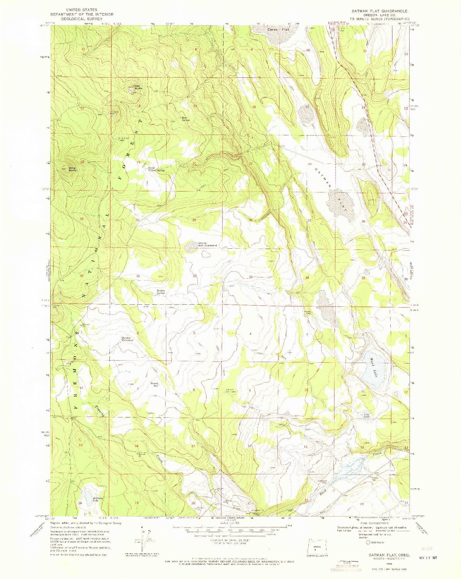 USGS 1:24000-SCALE QUADRANGLE FOR OATMAN FLAT, OR 1968