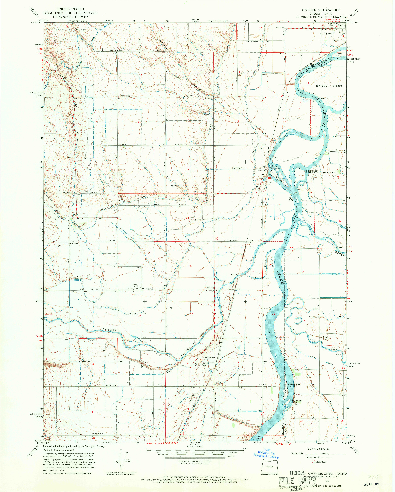 USGS 1:24000-SCALE QUADRANGLE FOR OWYHEE, OR 1967