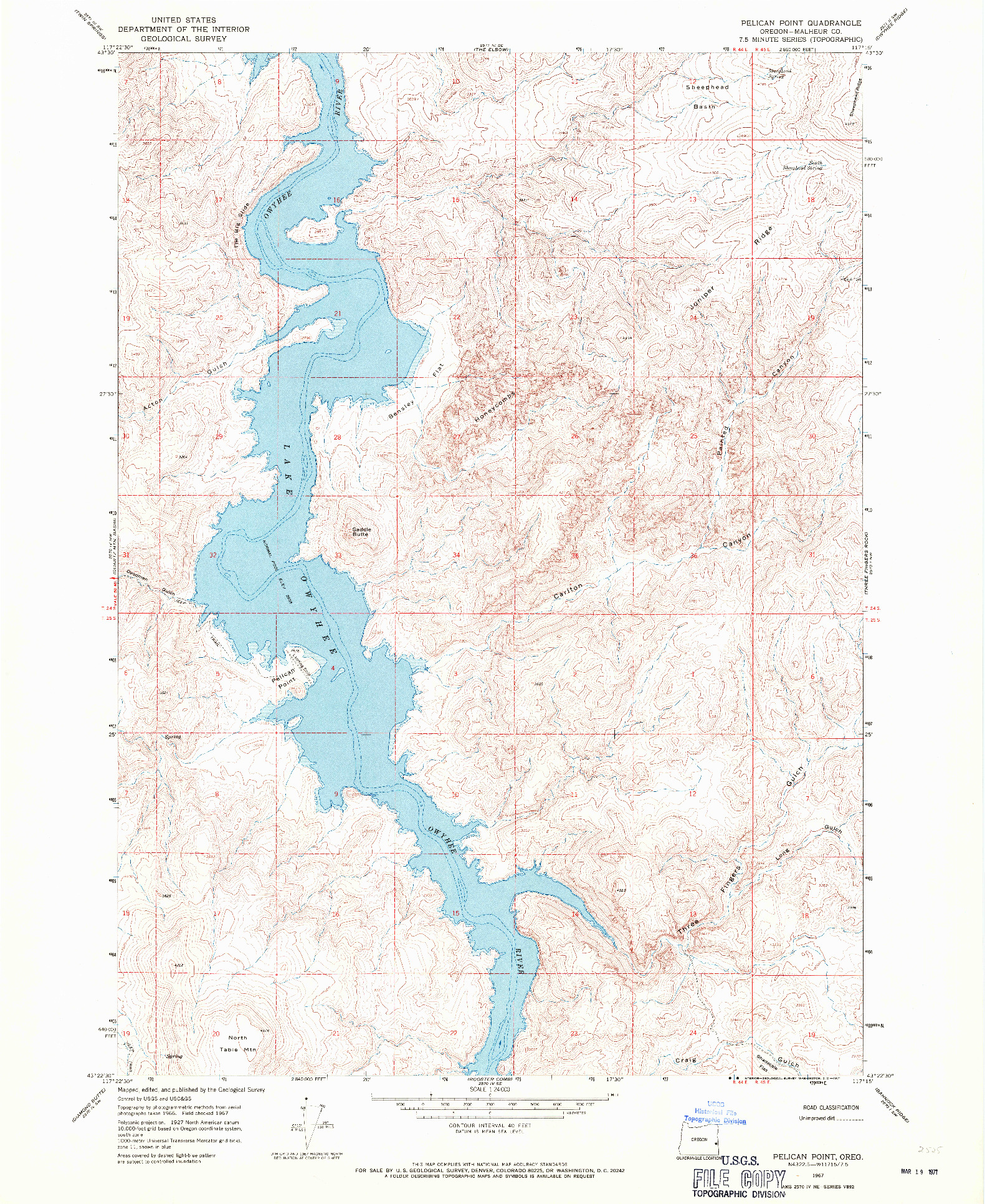 USGS 1:24000-SCALE QUADRANGLE FOR PELICAN POINT, OR 1967