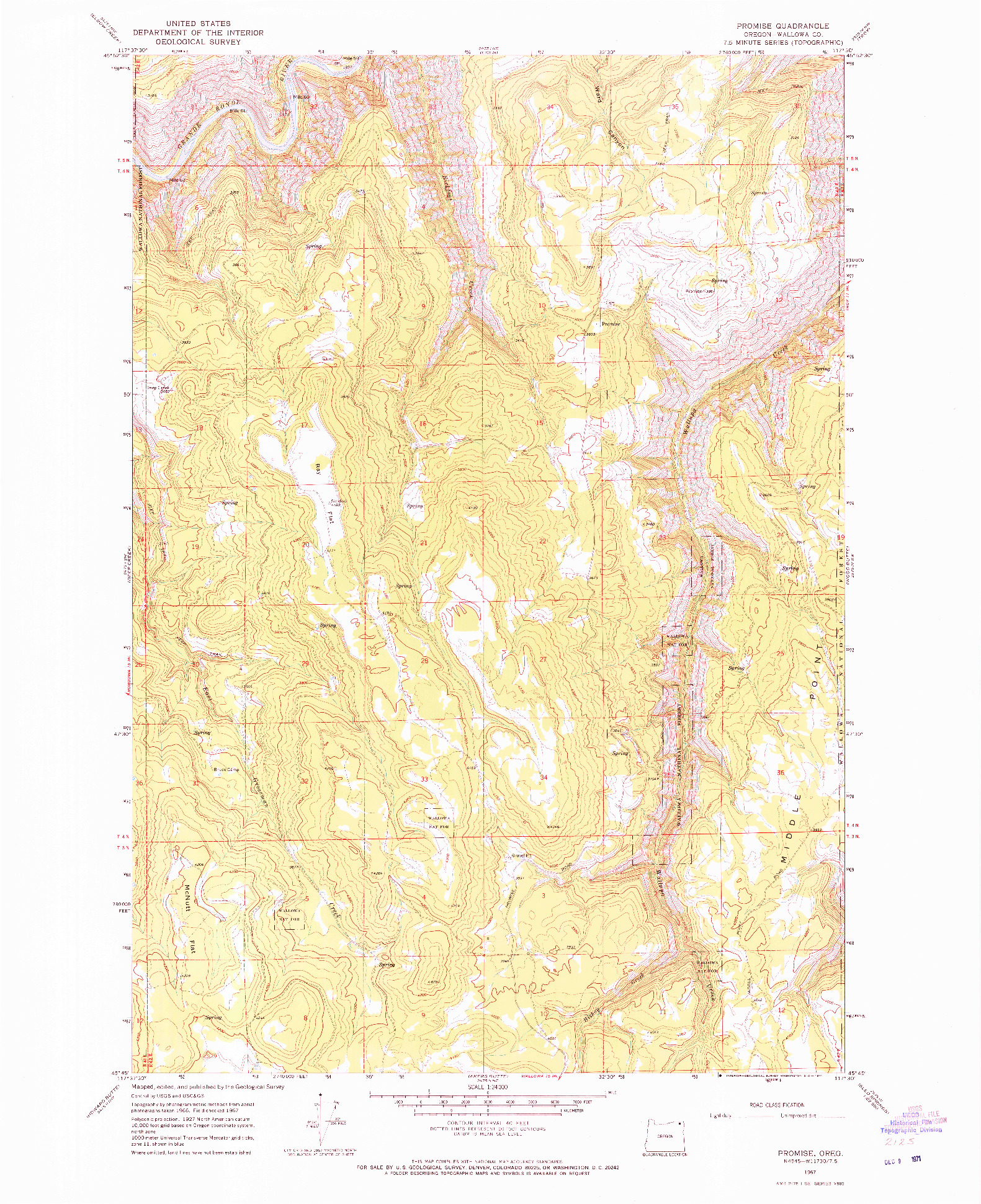 USGS 1:24000-SCALE QUADRANGLE FOR PROMISE, OR 1967