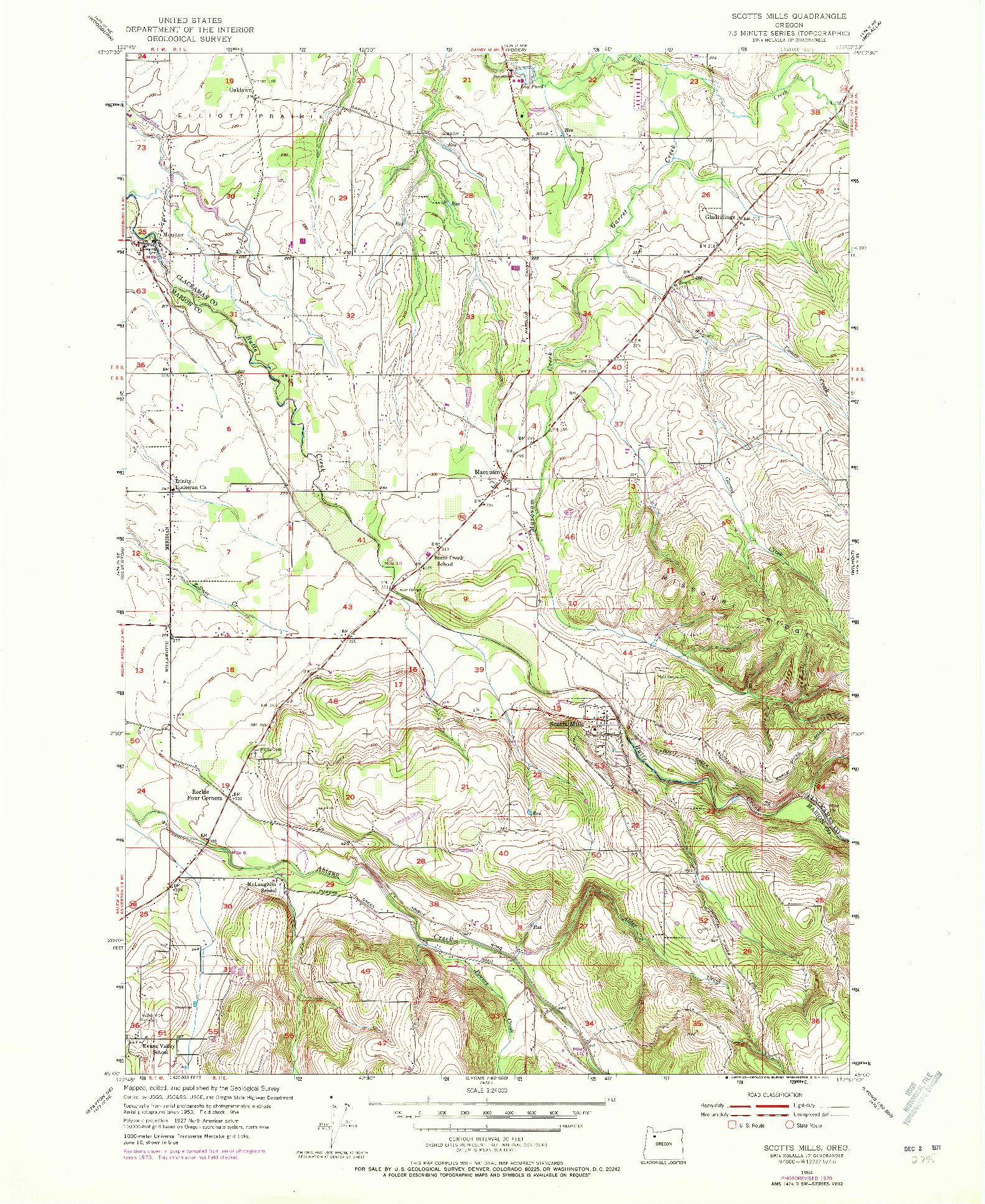 USGS 1:24000-SCALE QUADRANGLE FOR SCOTTS MILLS, OR 1954
