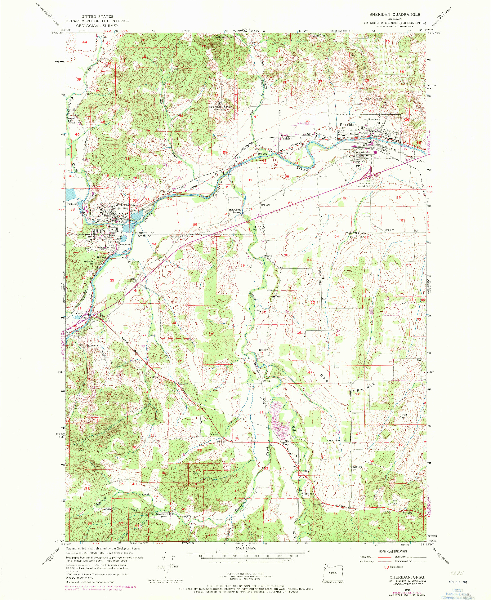 USGS 1:24000-SCALE QUADRANGLE FOR SHERIDAN, OR 1956