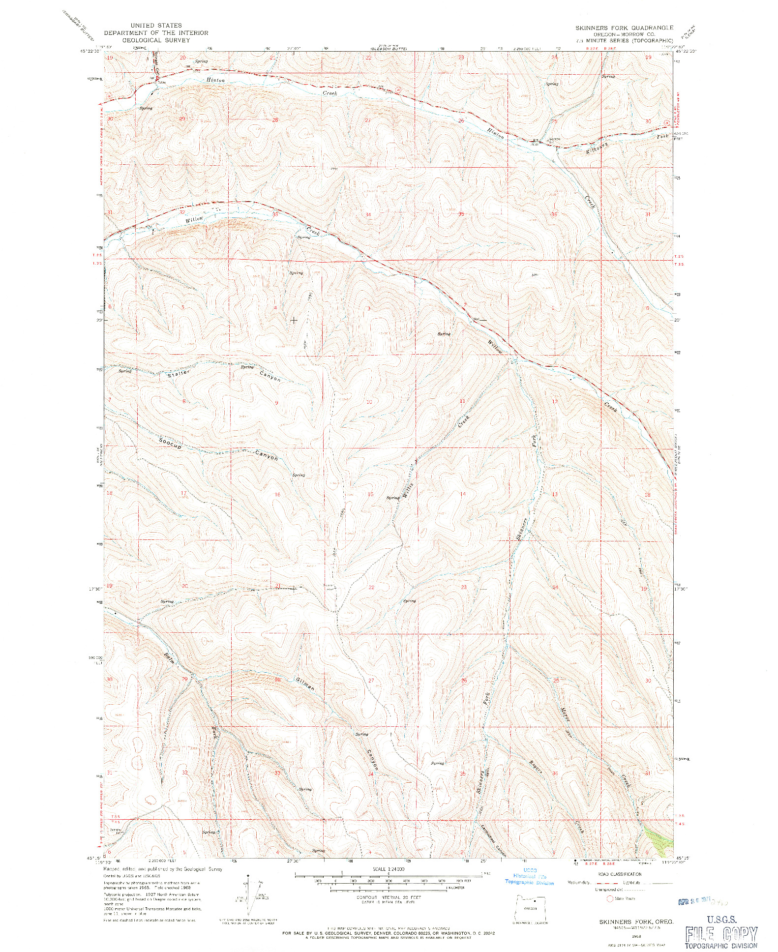 USGS 1:24000-SCALE QUADRANGLE FOR SKINNERS FORK, OR 1968