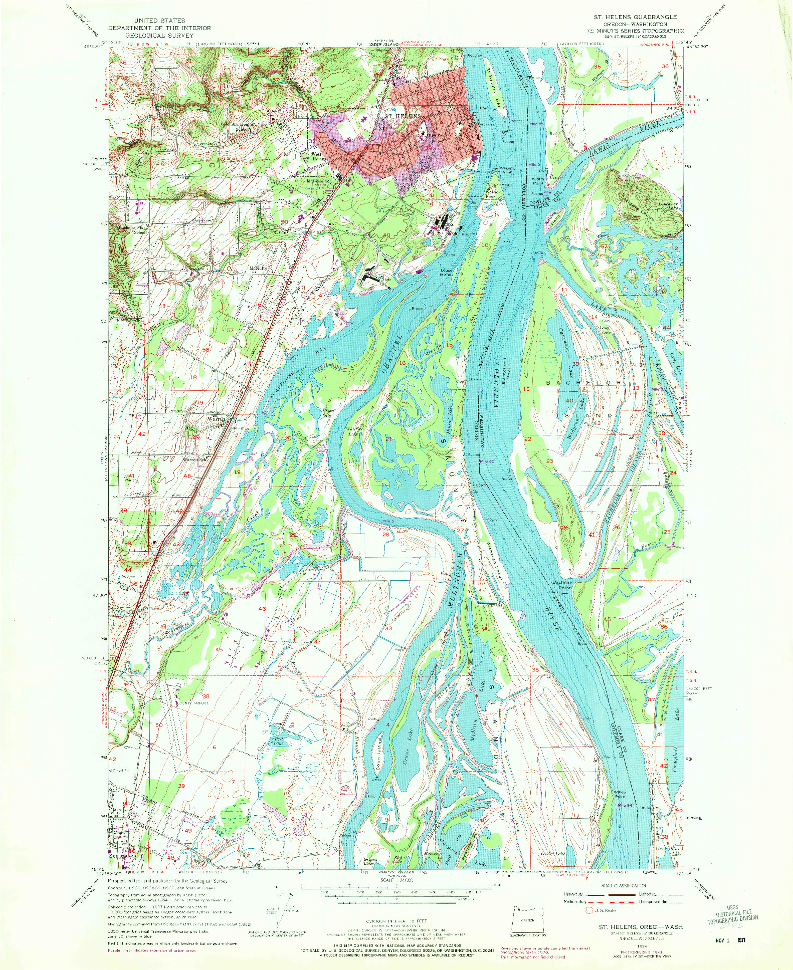USGS 1:24000-SCALE QUADRANGLE FOR ST. HELENS, OR 1954