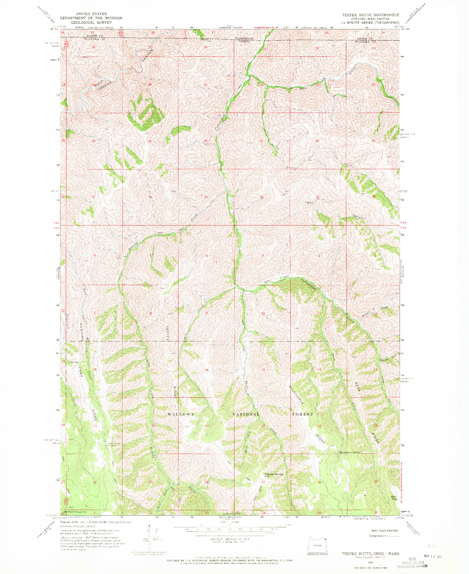 USGS 1:24000-SCALE QUADRANGLE FOR TEEPEE BUTTE, OR 1967