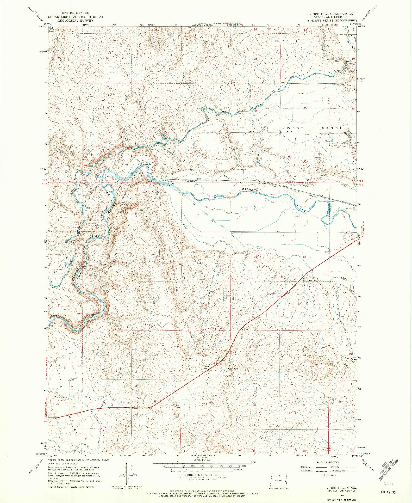 USGS 1:24000-SCALE QUADRANGLE FOR VINES HILL, OR 1967