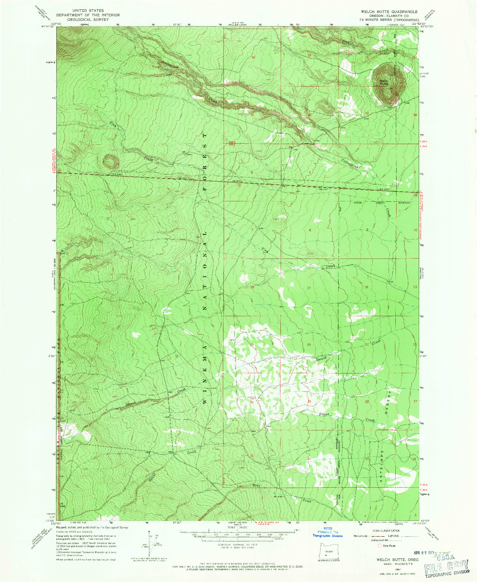 USGS 1:24000-SCALE QUADRANGLE FOR WELCH BUTTE, OR 1967