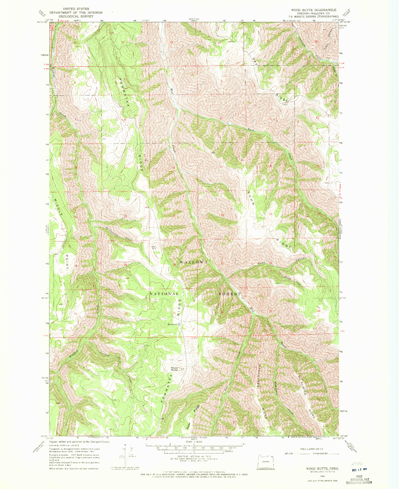 USGS 1:24000-SCALE QUADRANGLE FOR WOOD BUTTE, OR 1967