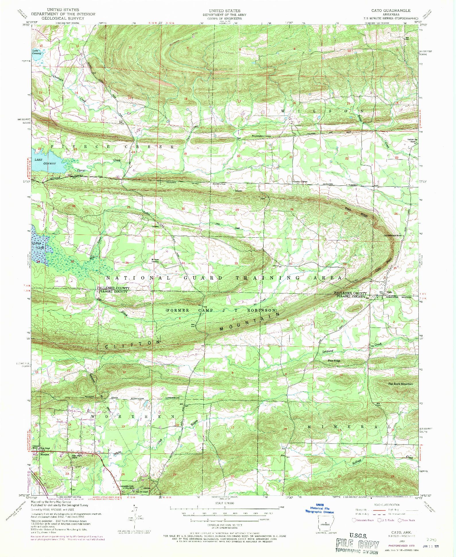 USGS 1:24000-SCALE QUADRANGLE FOR CATO, AR 1953