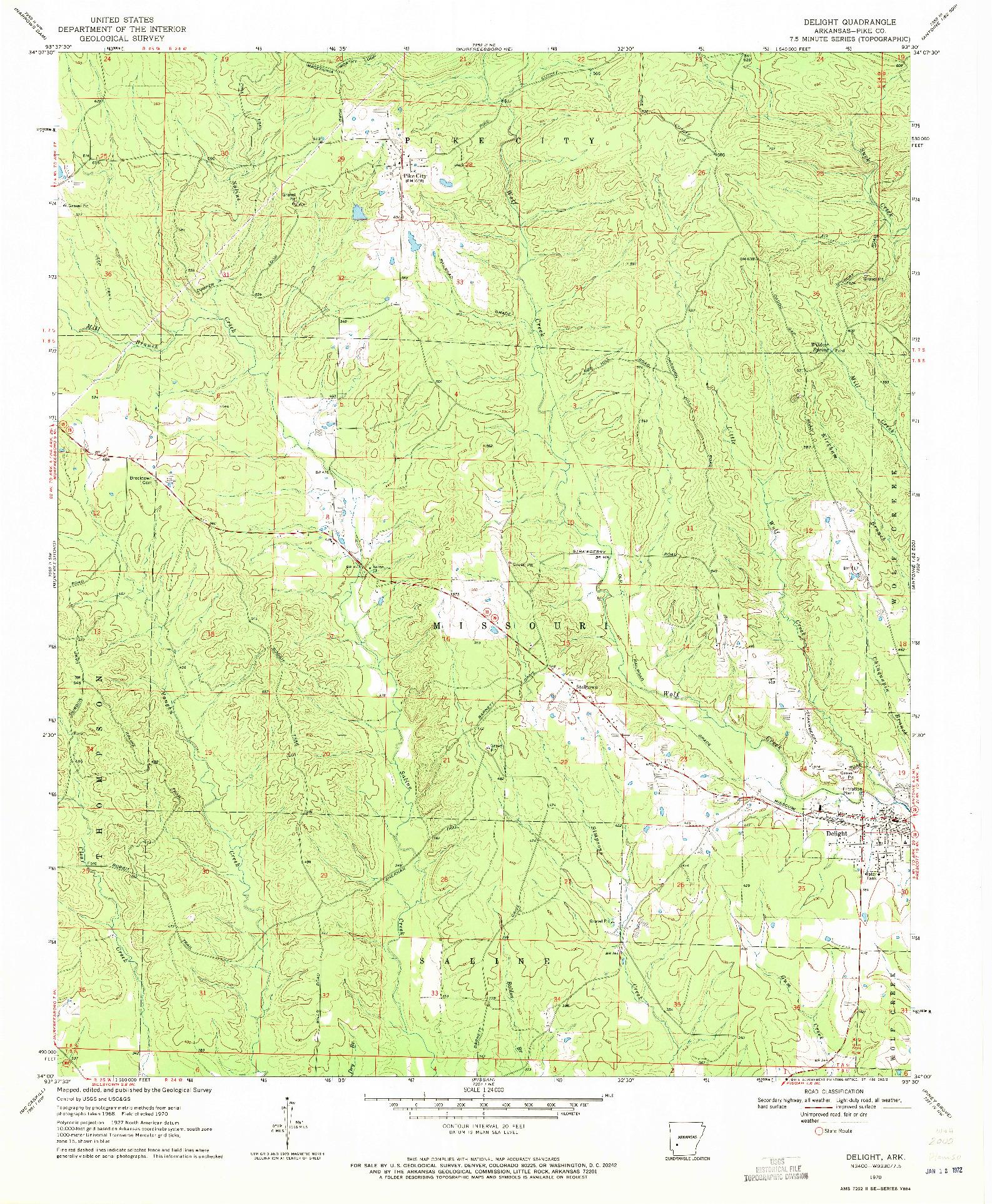 USGS 1:24000-SCALE QUADRANGLE FOR DELIGHT, AR 1970
