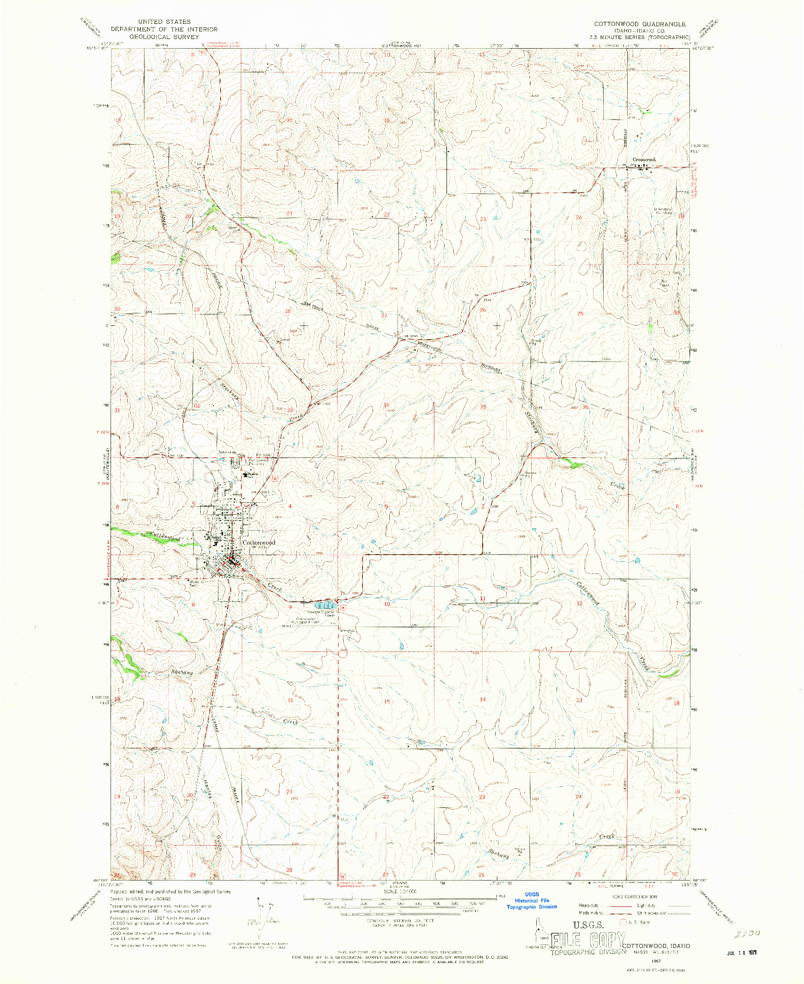 USGS 1:24000-SCALE QUADRANGLE FOR COTTONWOOD, ID 1967