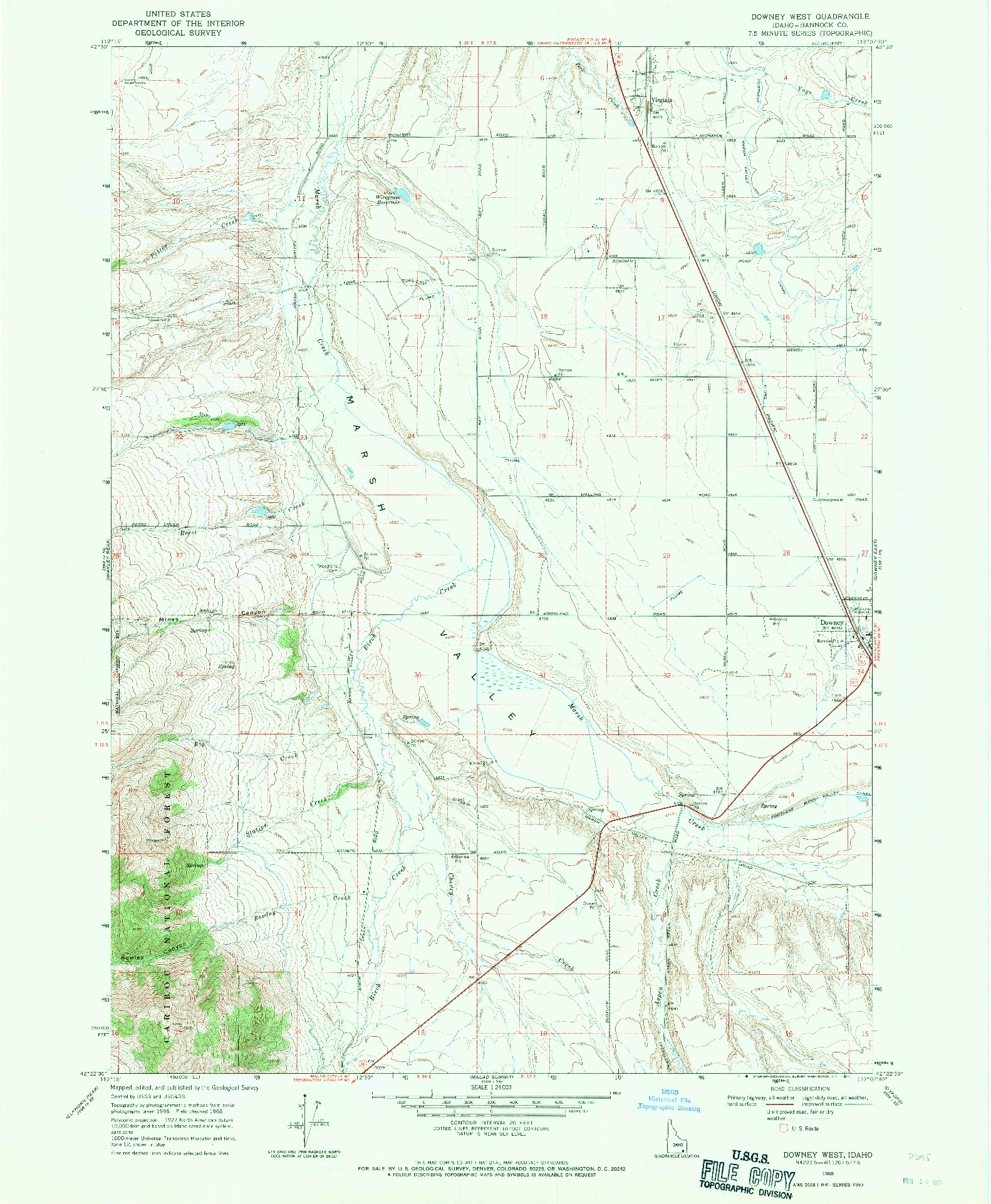 USGS 1:24000-SCALE QUADRANGLE FOR DOWNEY WEST, ID 1968