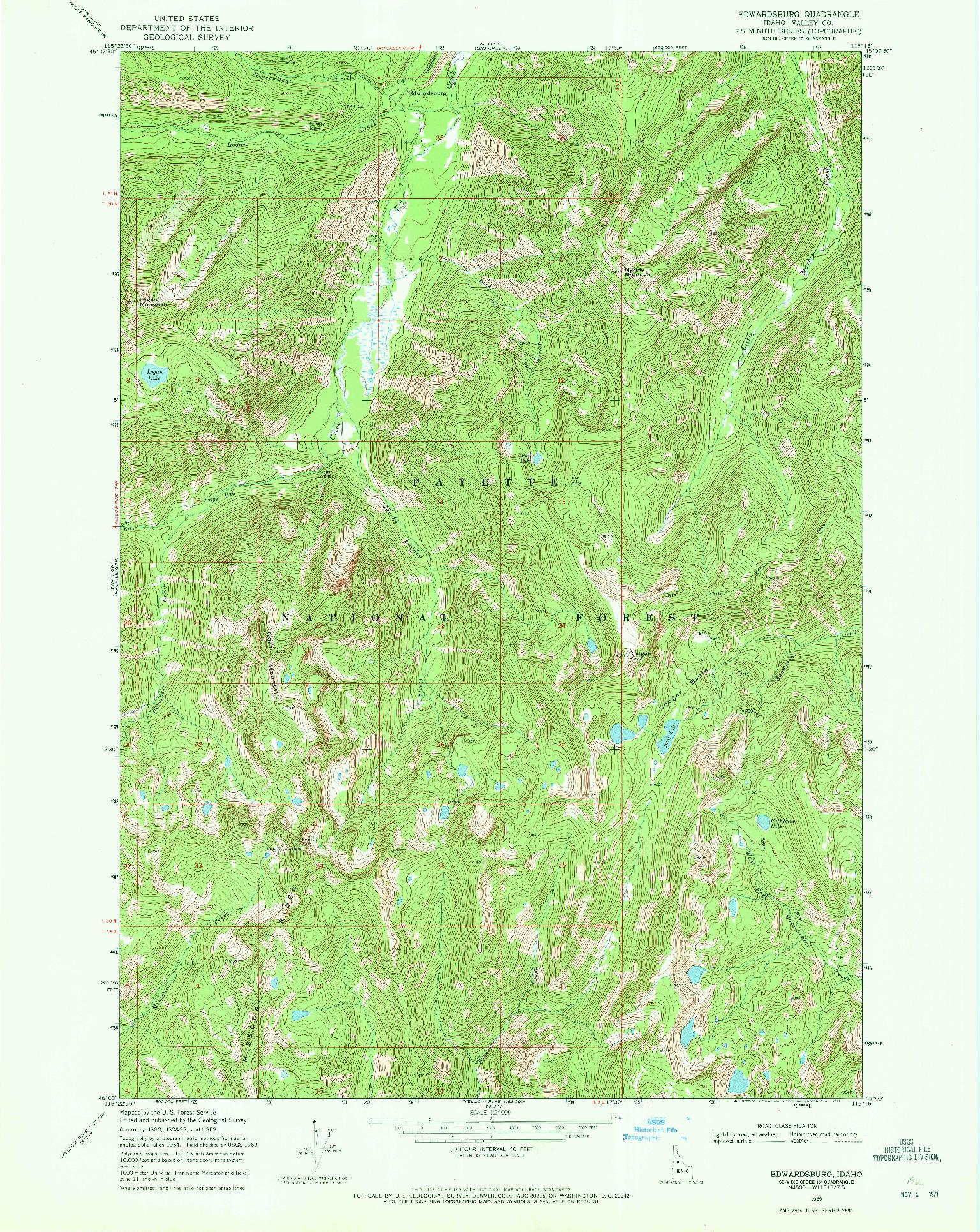 USGS 1:24000-SCALE QUADRANGLE FOR EDWARDSBURG, ID 1969