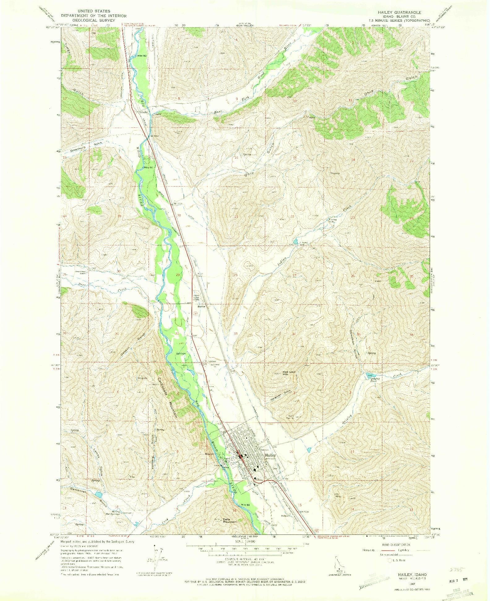 USGS 1:24000-SCALE QUADRANGLE FOR HAILEY, ID 1967