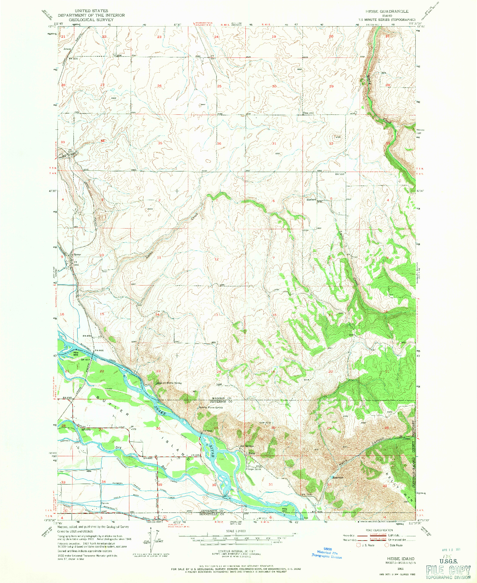 USGS 1:24000-SCALE QUADRANGLE FOR HEISE, ID 1951