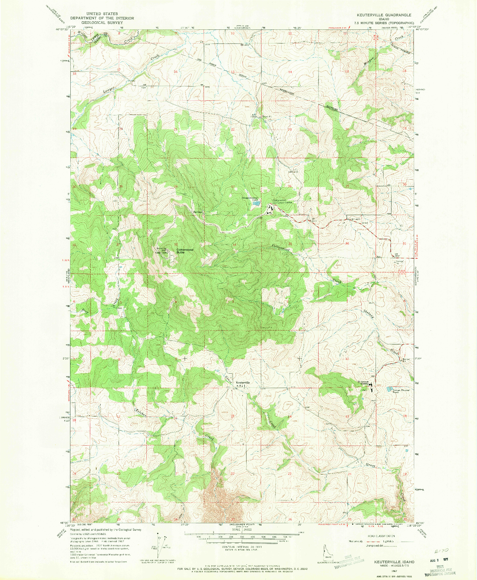 USGS 1:24000-SCALE QUADRANGLE FOR KEUTERVILLE, ID 1967